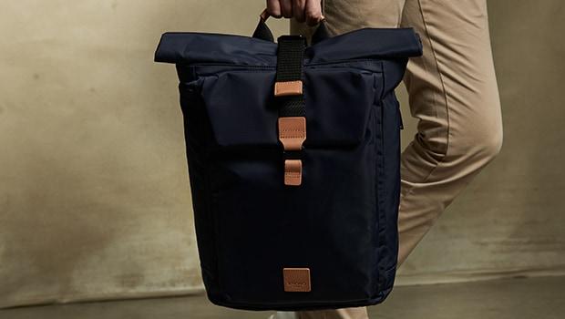"KNOMO Novello Roll-Top Laptop Backpack - 15"" Lifestyle Image |knomo.com"