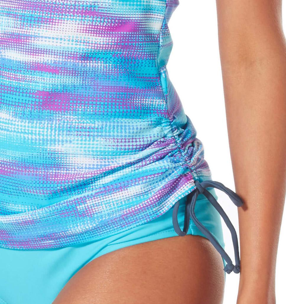 Women's Ocean Sparkle Zip Front Racerback Tankini Top