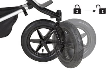 2-mode front wheel to lock back (control over uneven terrain) OR 360° full swivel (maneouvrabilty for navigating tight spaces)