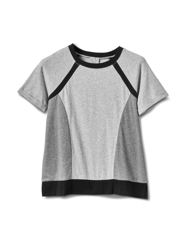 Color Block Knit Top -Grey/Black - Front