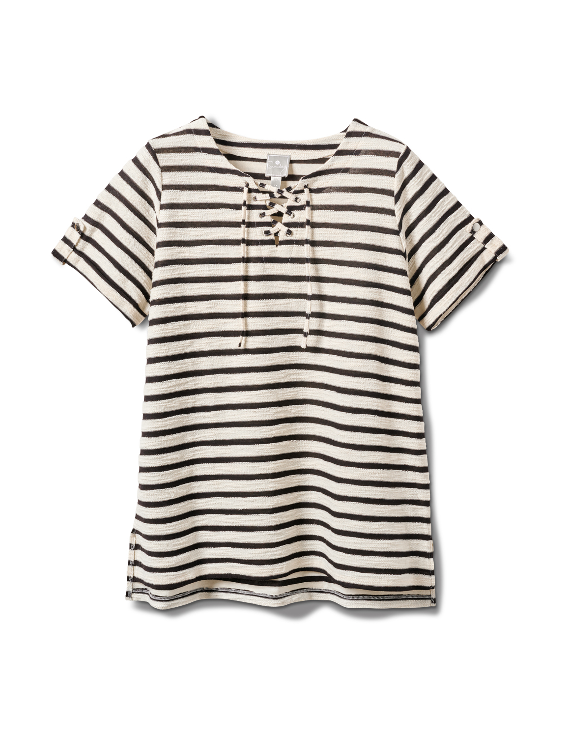 Lace Up Stripe Knit Top - Plus -Black/White - Front