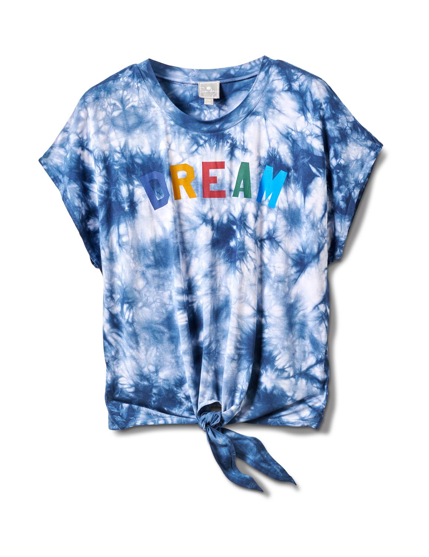 """""""Dream"""" Tie Dye Tie Front Top - Plus -Blue - Front"""