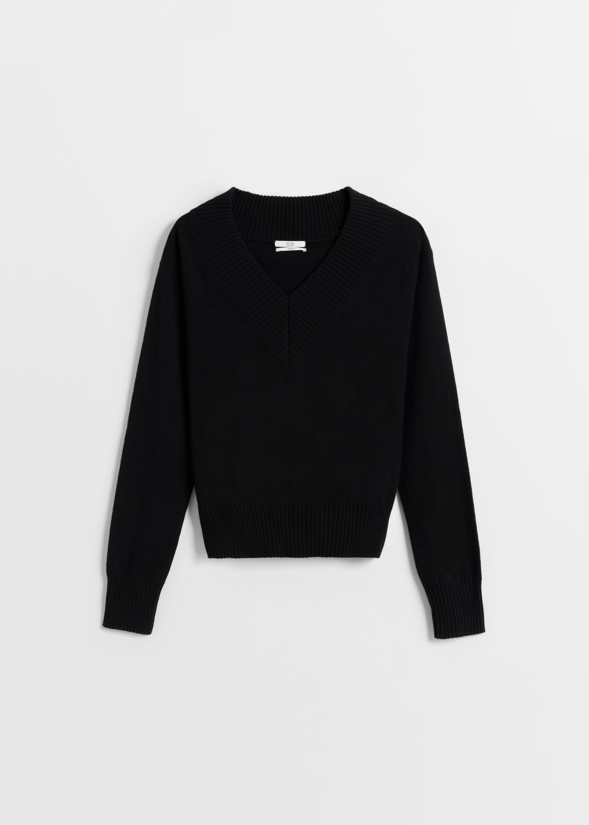 Cashmere V-Neck Sweater - Sand Melange in Black by Co Collections