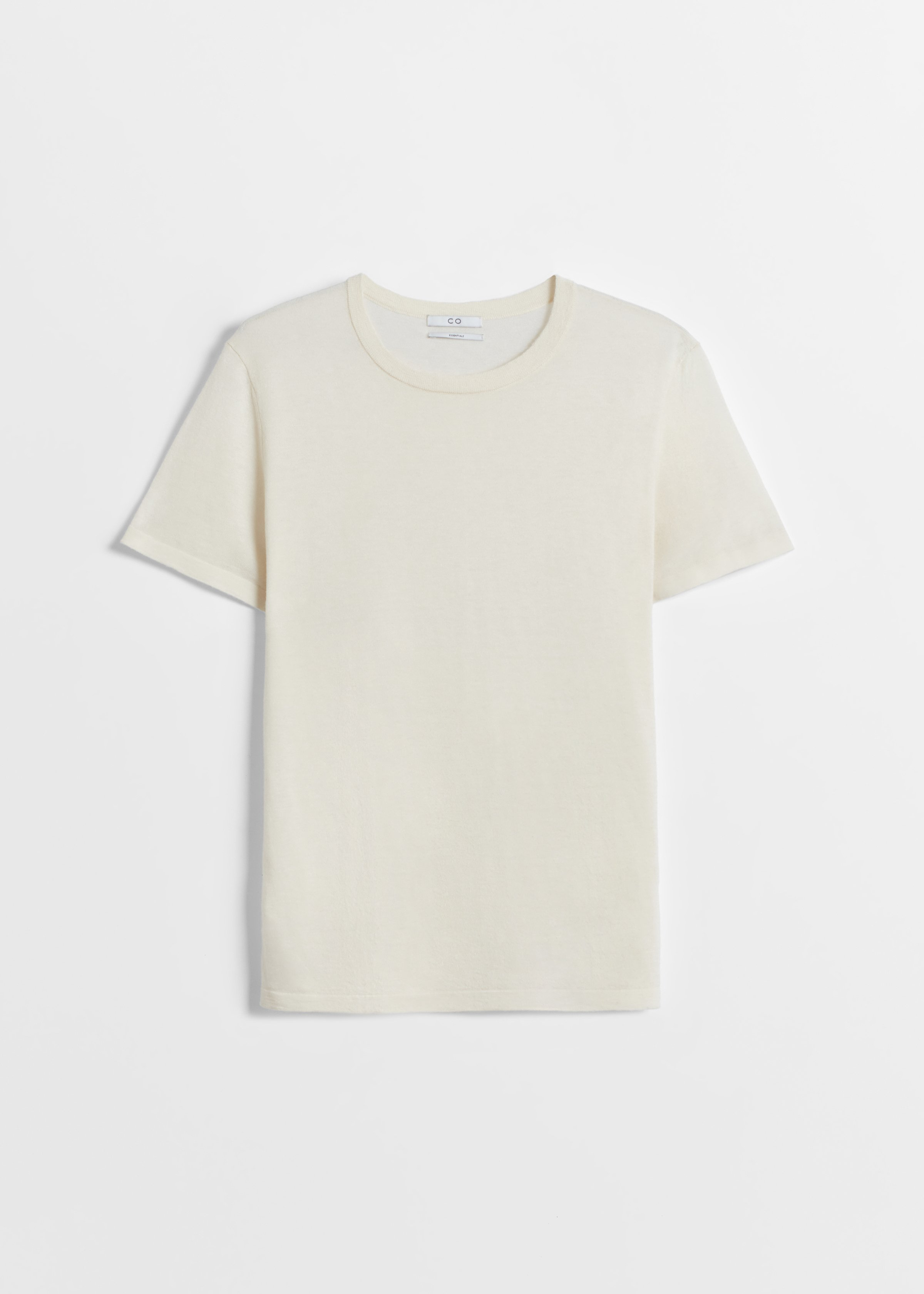 Cashmere T-Shirt - Black in Ivory by Co Collections