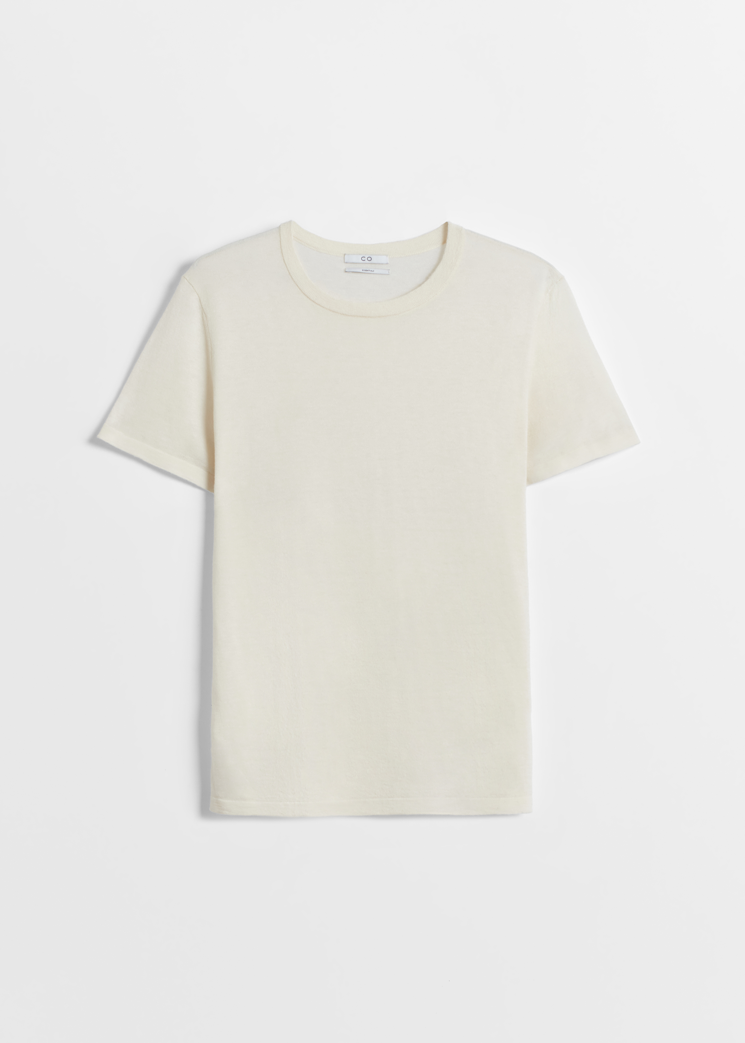 Cashmere T-Shirt - Taupe in Ivory by Co Collections