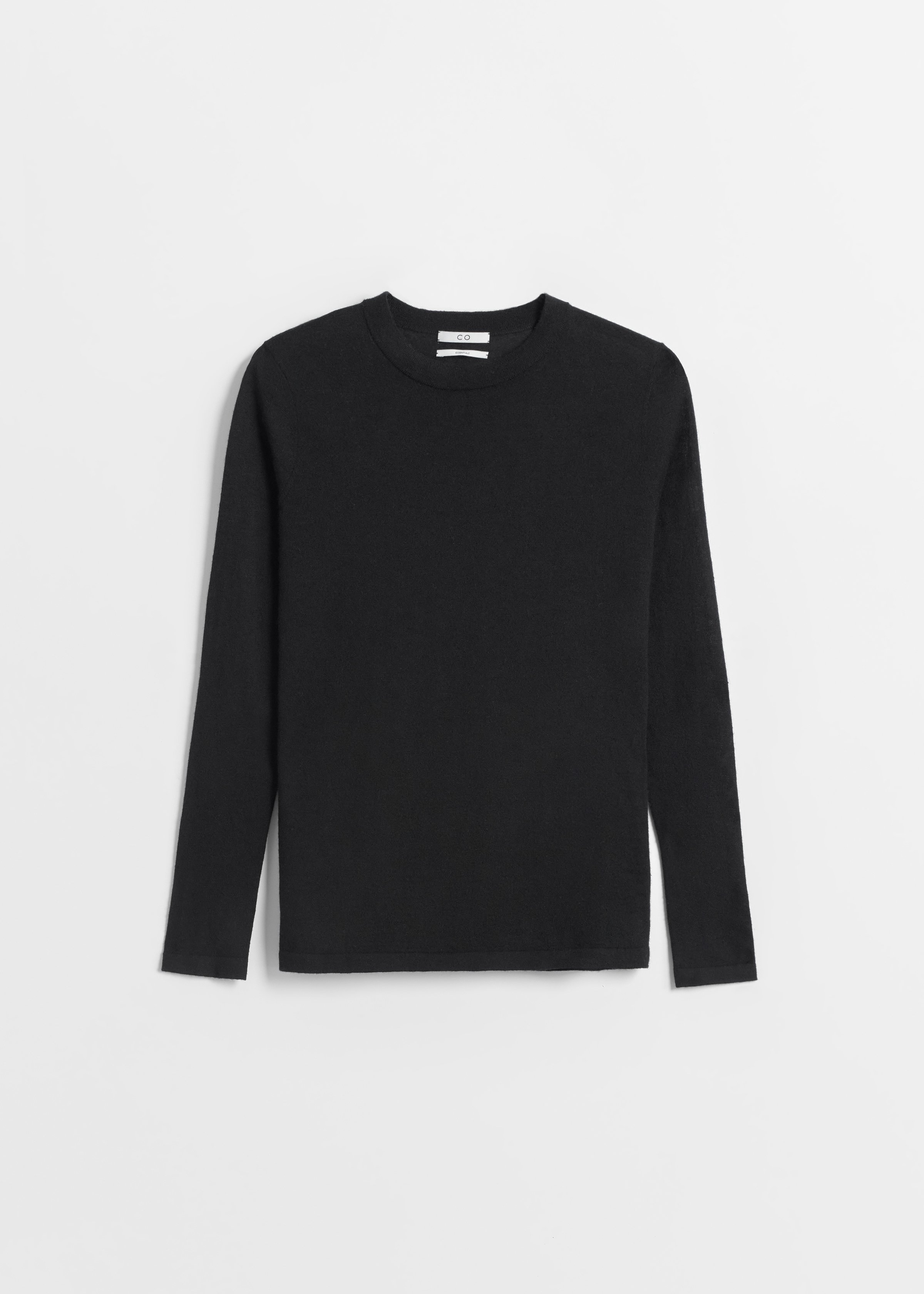 Long Sleeve Cashmere Crew Neck - Taupe in Black by Co Collections