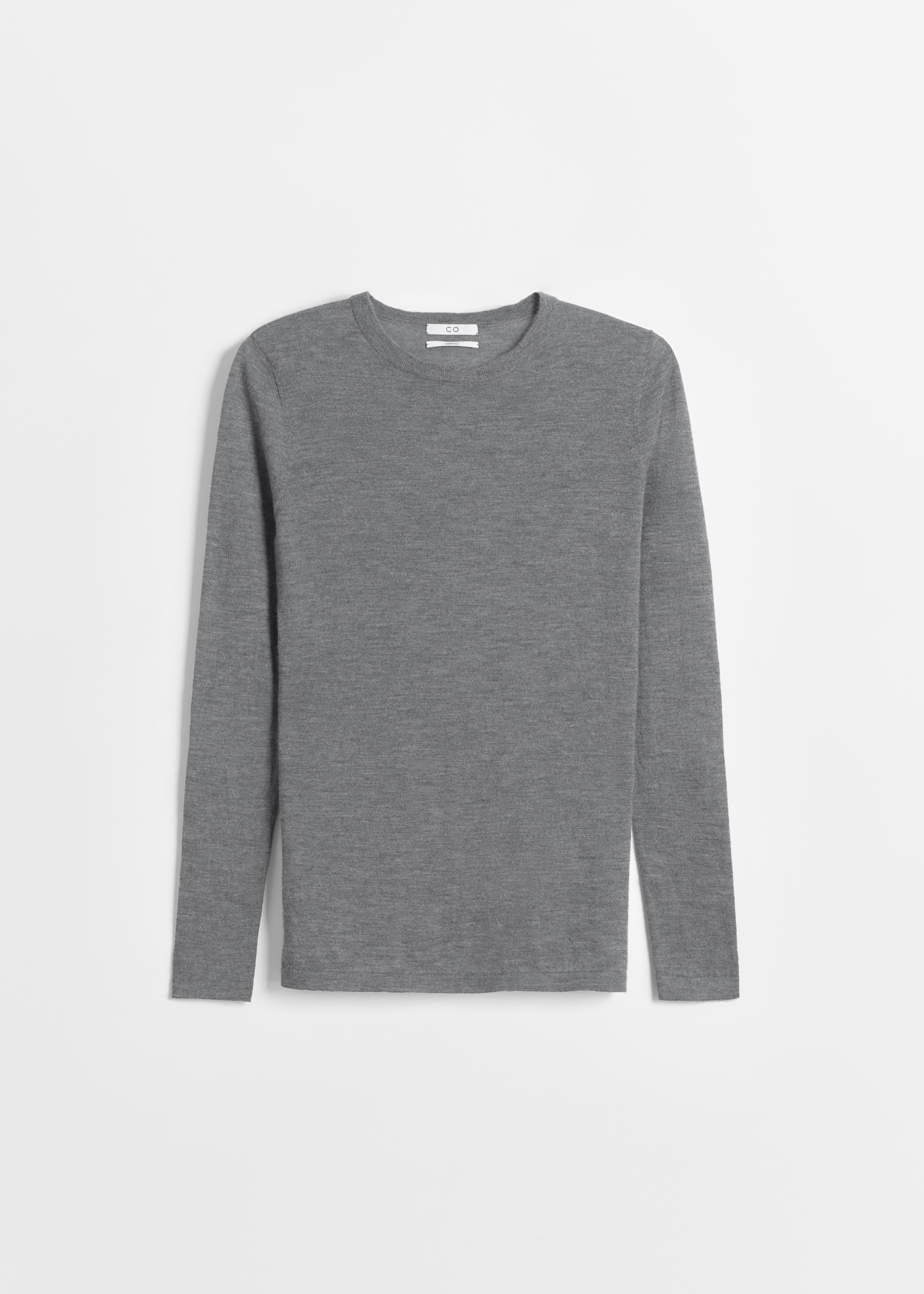Long Sleeve Cashmere Crew Neck - Taupe in Grey by Co Collections