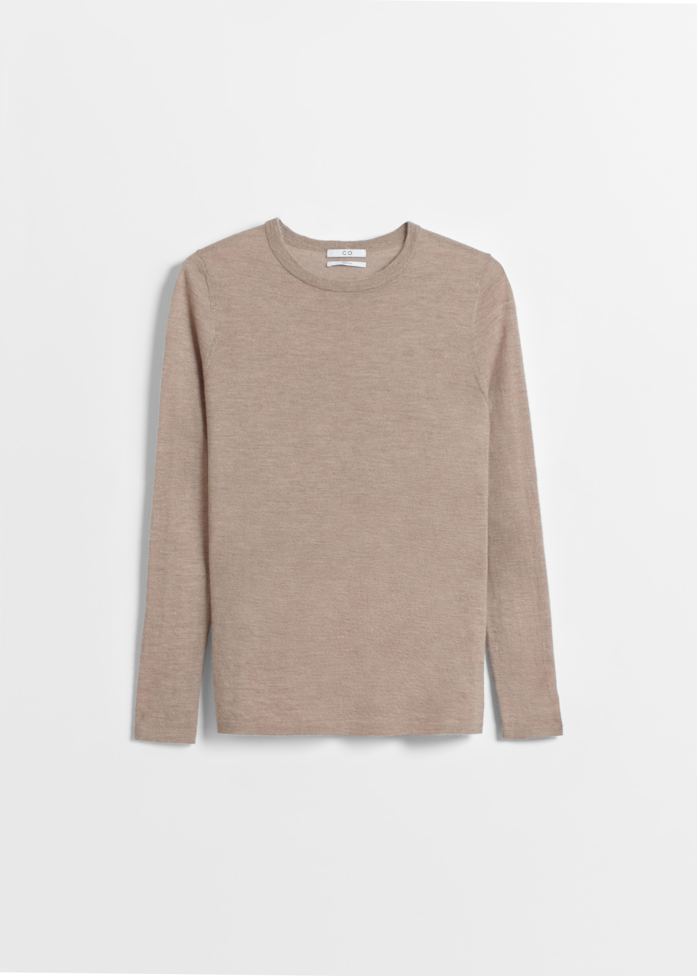Long Sleeve Cashmere Crew Neck - Ivory in Taupe by Co Collections