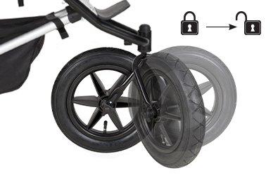 rueda delantera bloqueable