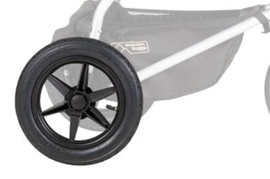 Pneus de 12 pouces remplis d'air, pour une véritable performance à trois roues sur le site terrain.