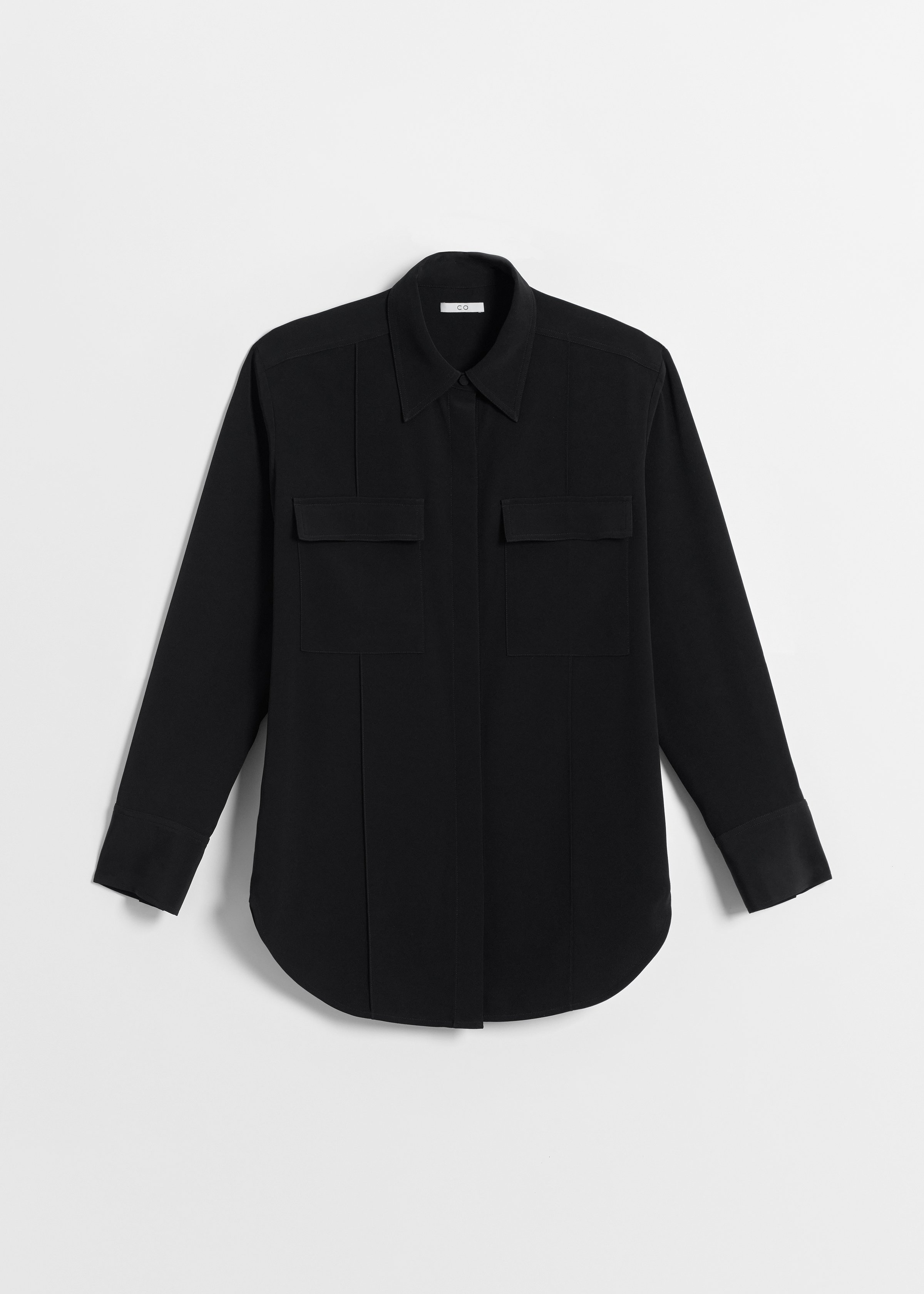 Utility Shirt in Stretch Crepe - Black - CO