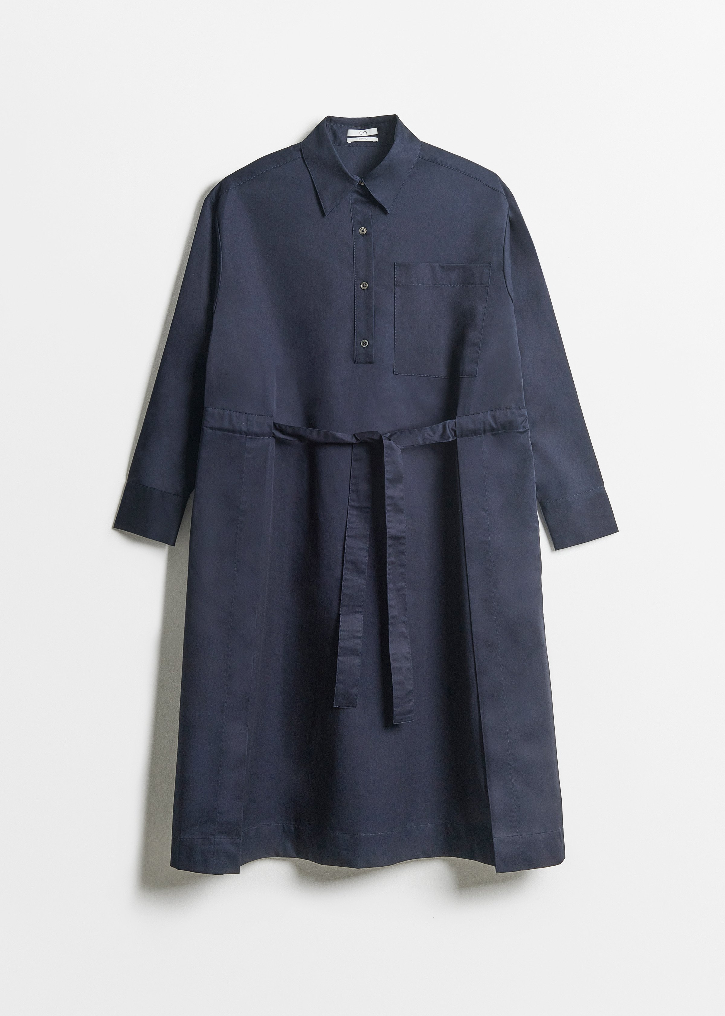 Belted Long Sleeve Dress - Taupe in Navy by Co Collections