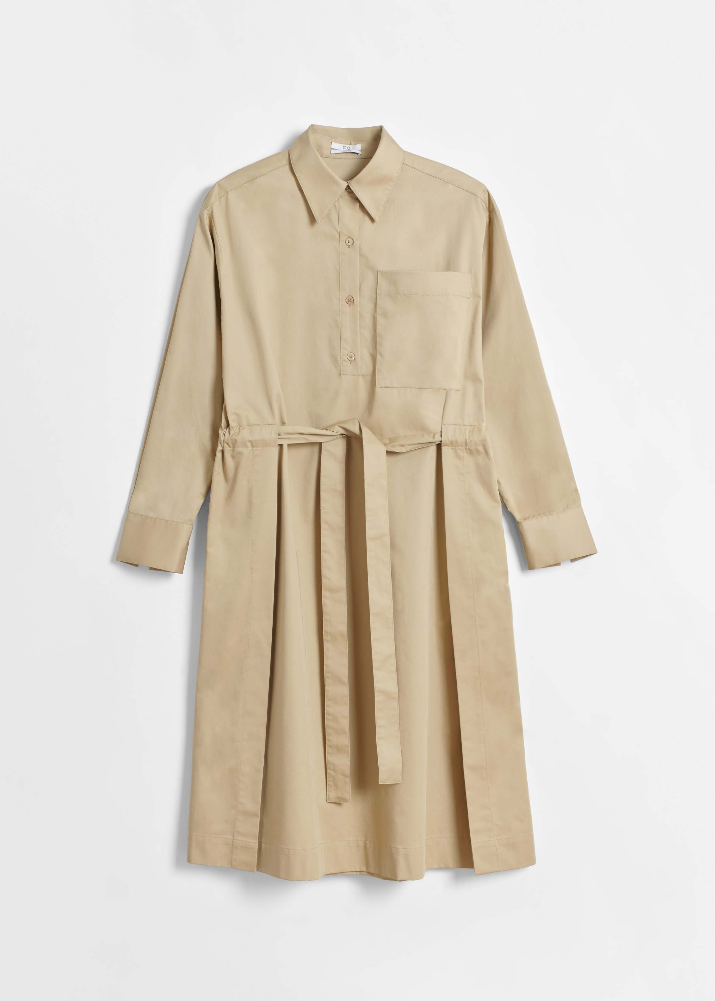 Belted Long Sleeve Dress - Taupe - CO