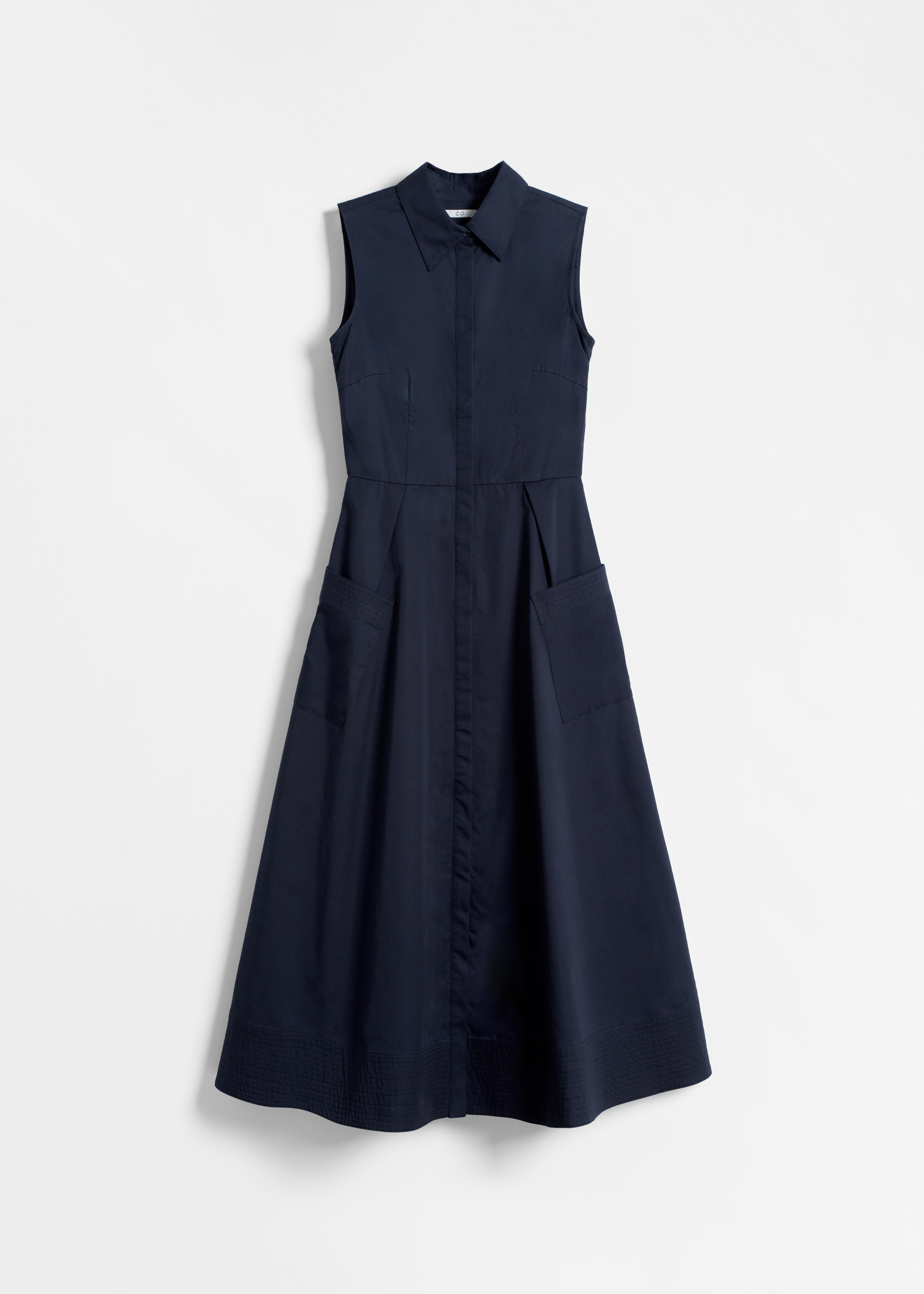 Sleeveless Button Down Dress - Taupe in Navy by Co Collections