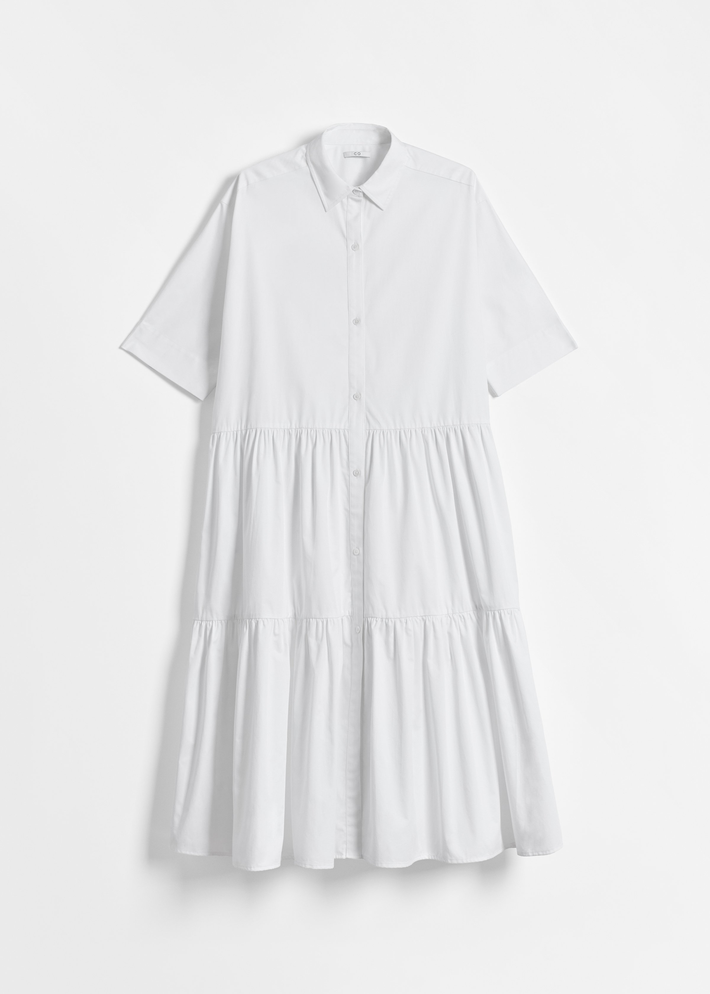 CO - Short Sleeve Tiered Dress in Cotton Poplin - White