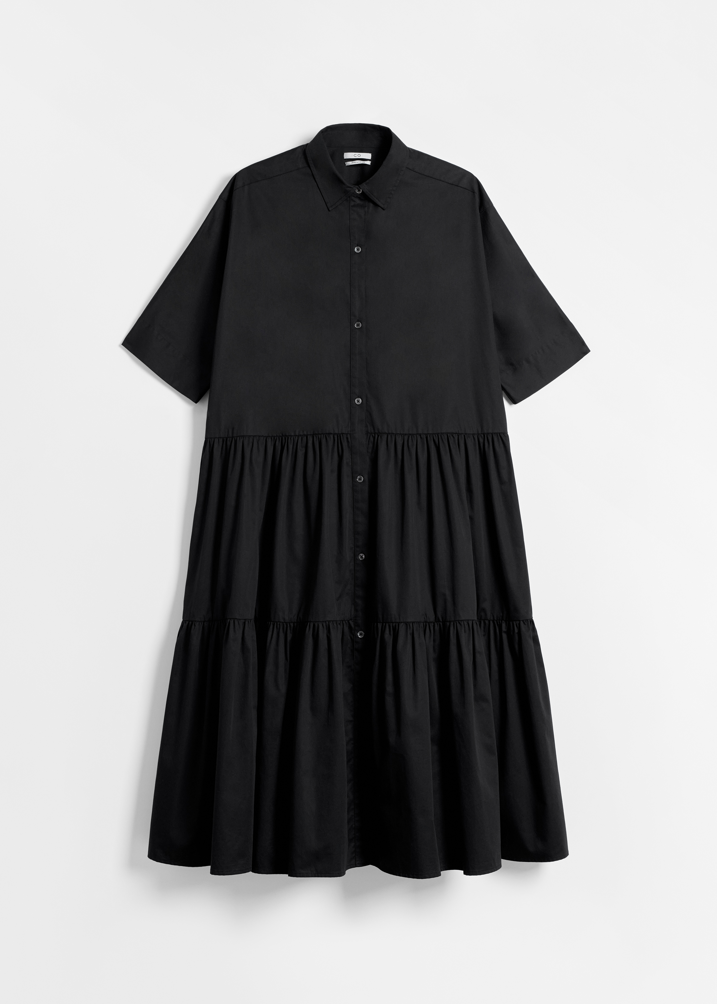 Short Sleeve Tiered Dress - Black - CO