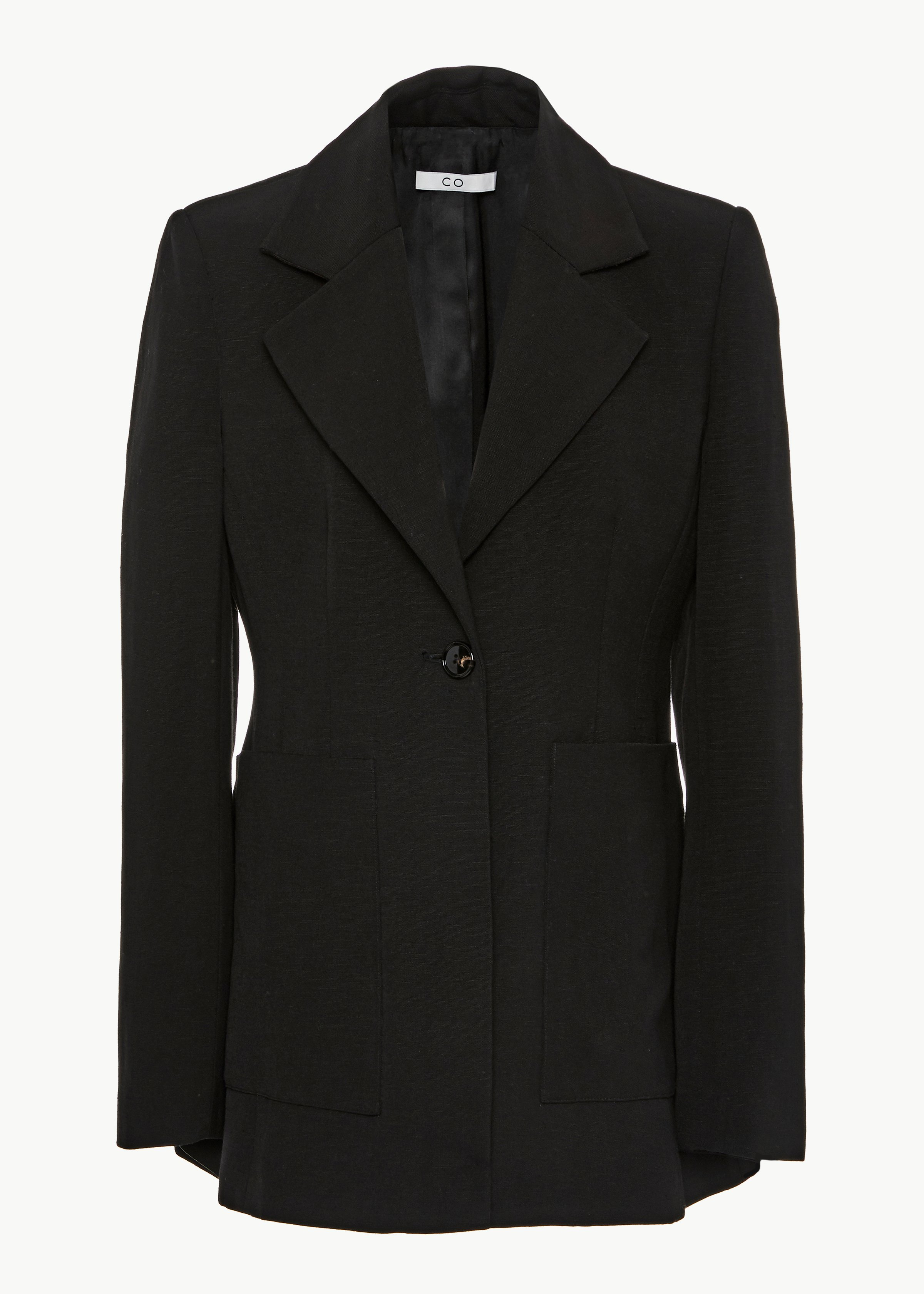 Single Breasted Blazer in Viscose Linen - Black - CO