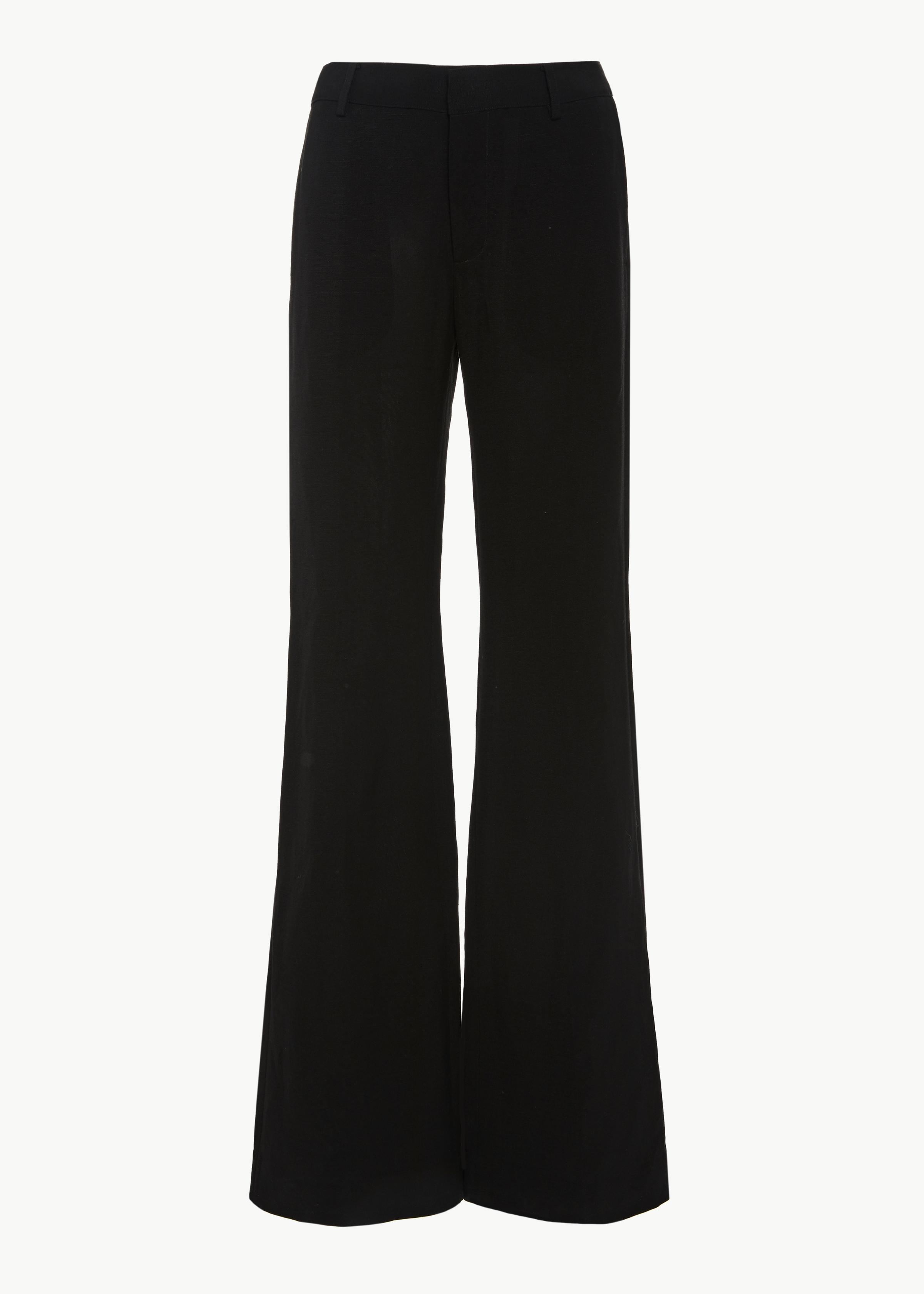 Flare Leg Trouser in Viscose Linen - Black - CO