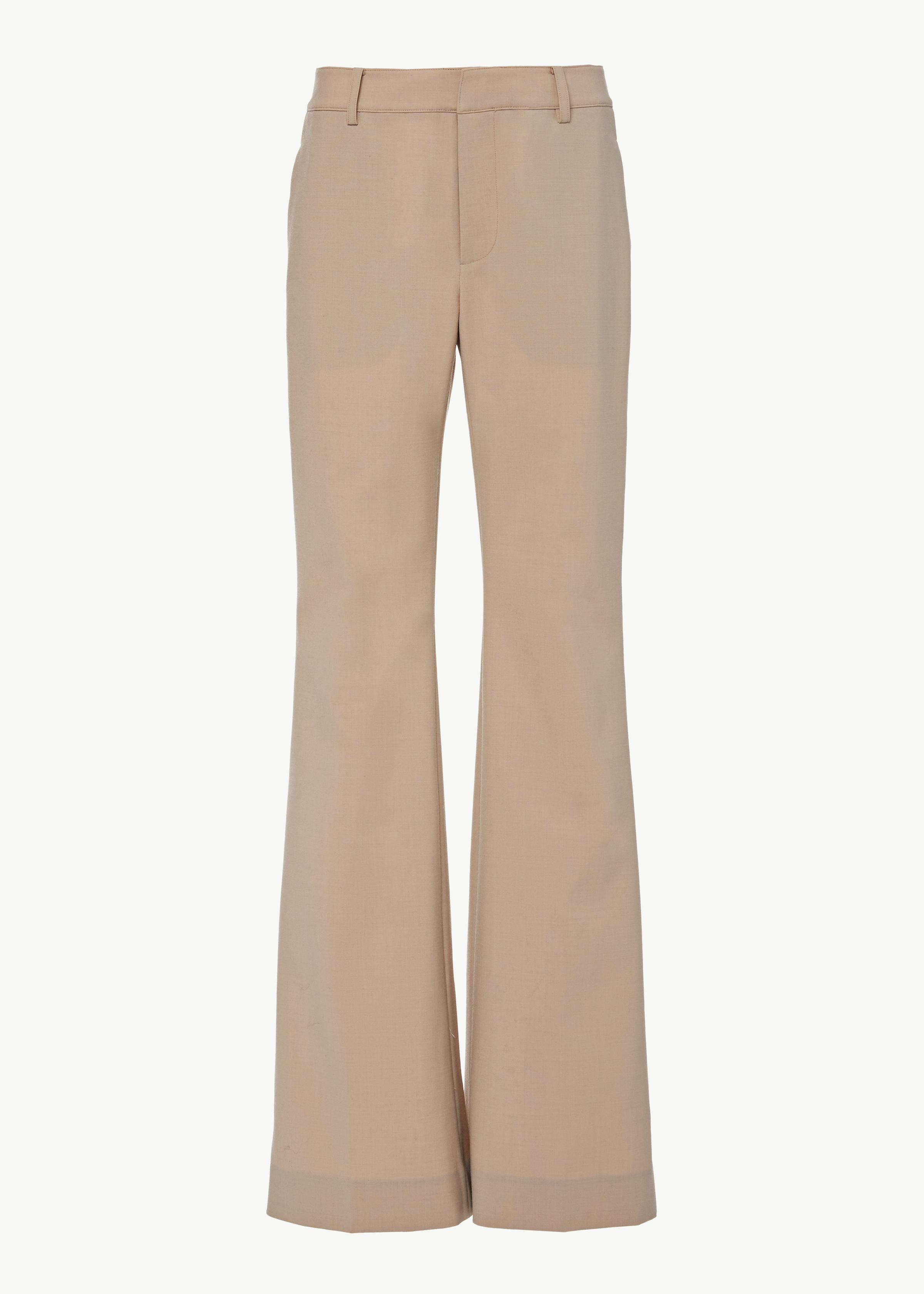 Flare Leg Trouser in Stretch Wool - Beige - CO