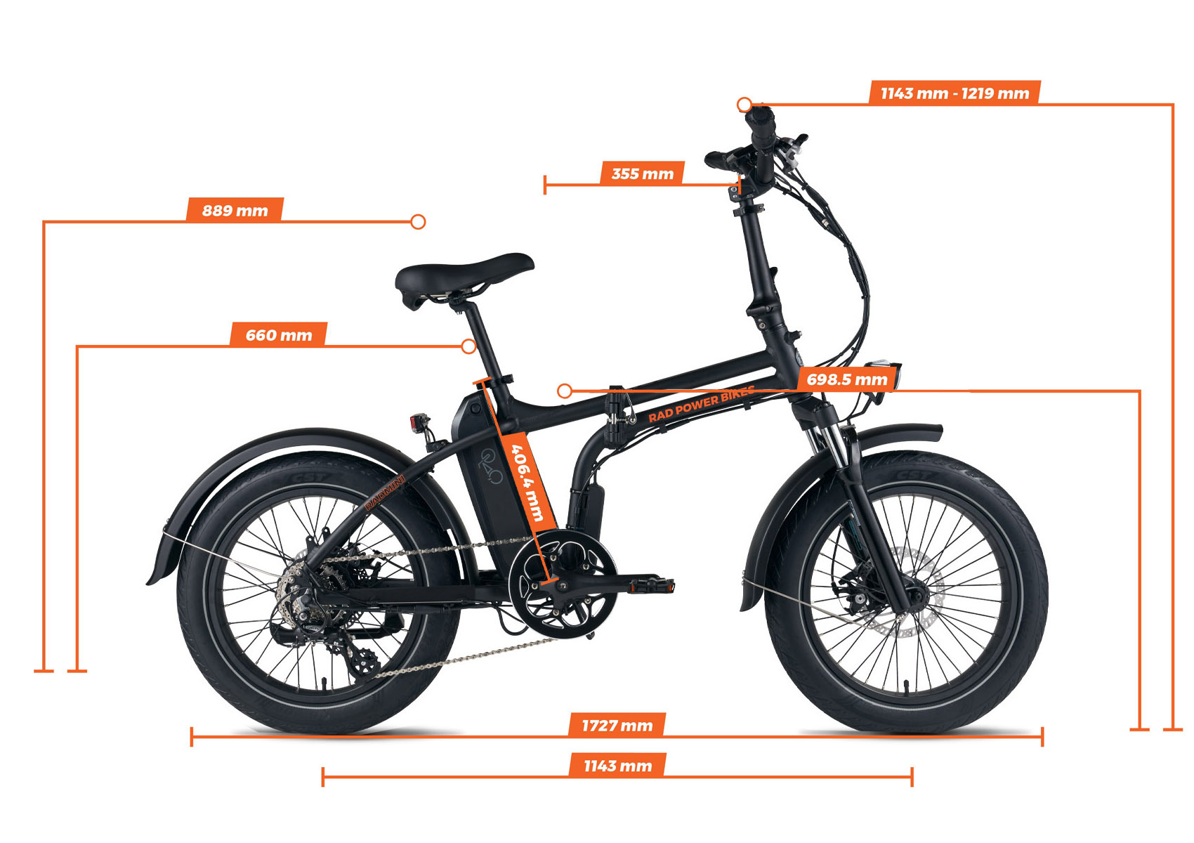 Geometry chart for the RadMini Electric Fat Bike