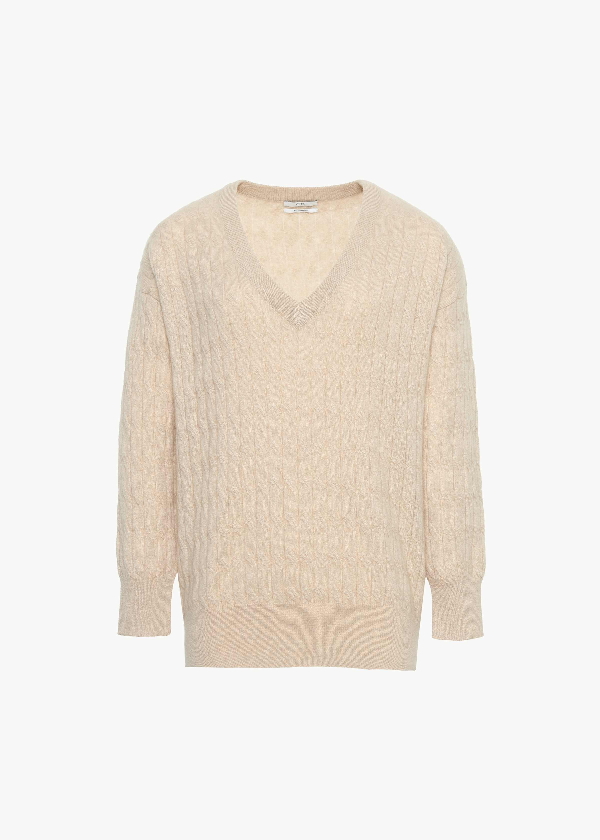 Cable Knit V Neck Sweater in Cashmere - Copper in Sand by Co Collections