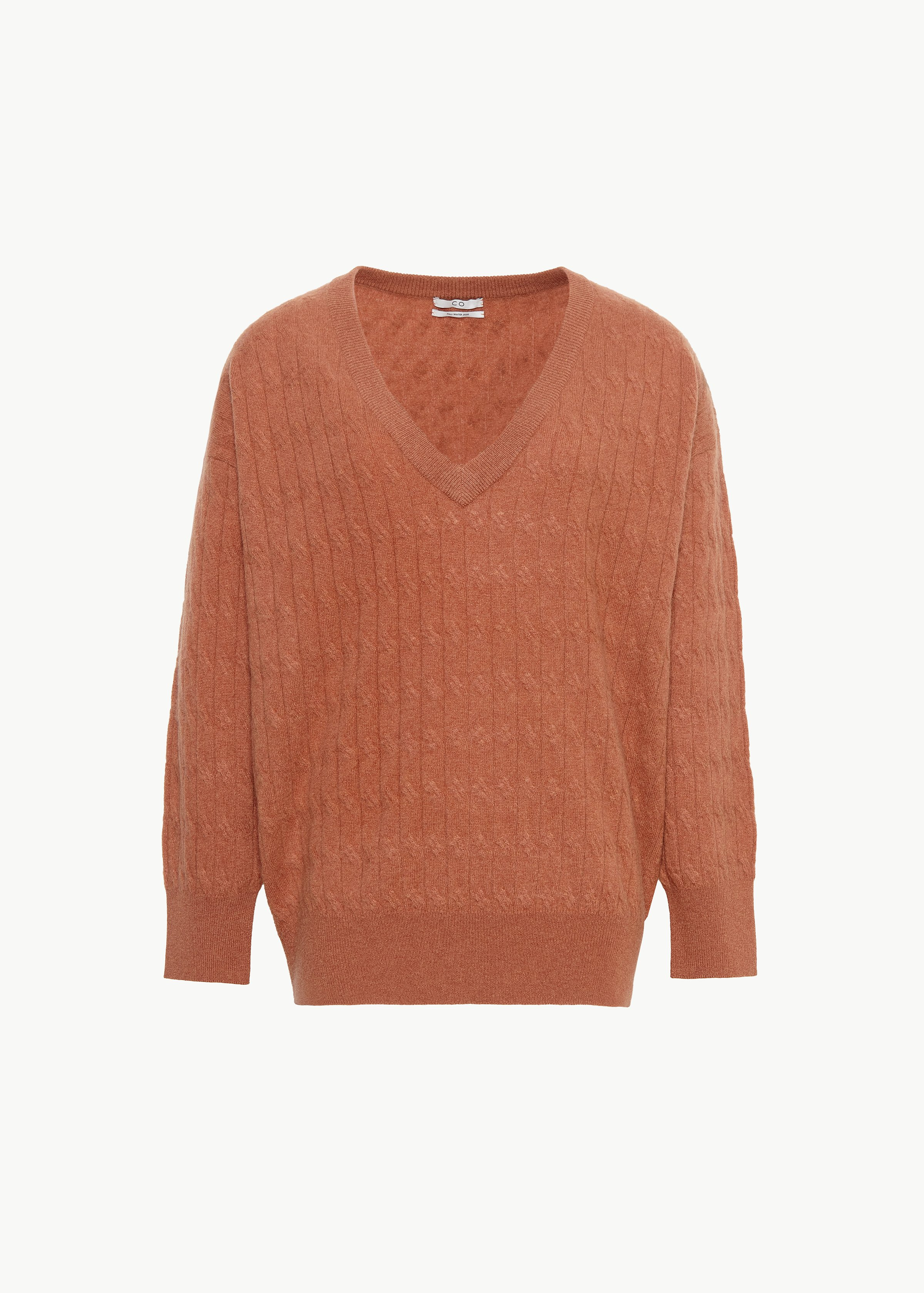 Cable Knit V Neck Sweater in Cashmere - Sand in Copper by Co Collections