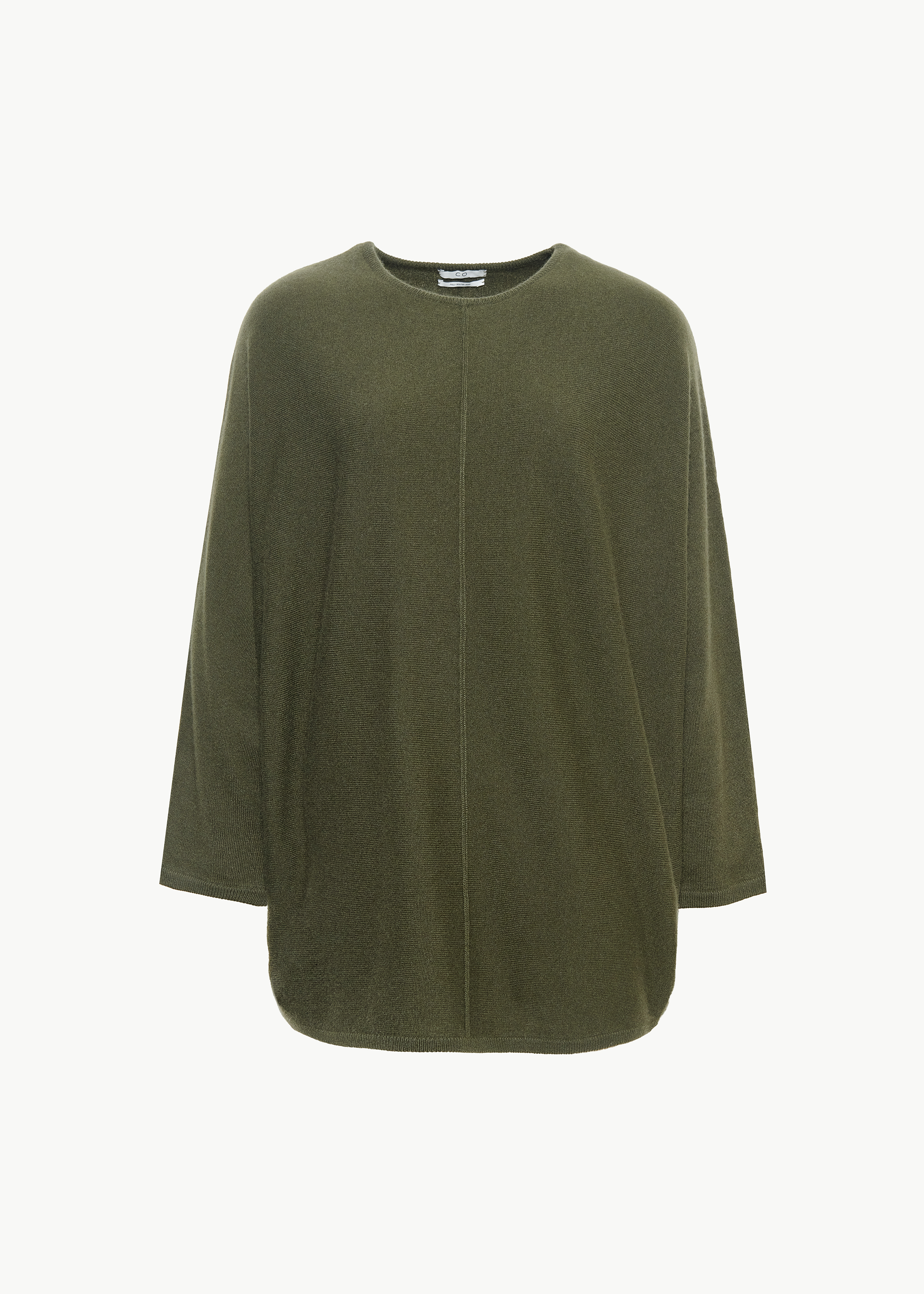 Crew Neck Dolman Sleeve Sweater in Cashmere - Chocolate in Olive by Co Collections