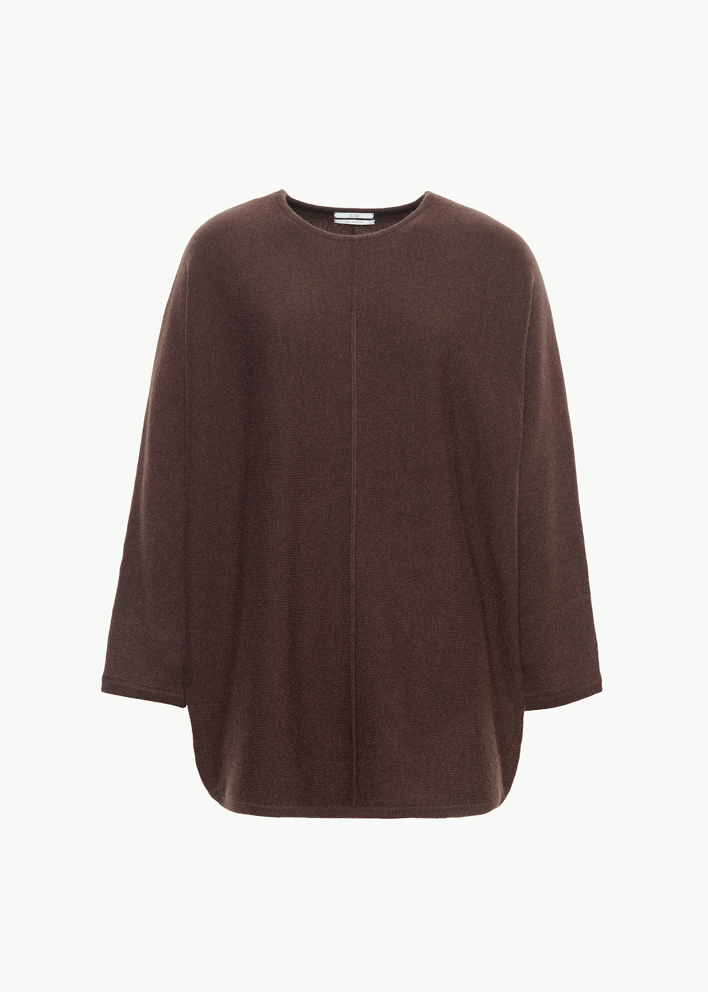 Crew Neck Dolman Sleeve Sweater in Cashmere - Olive in Chocolate by Co Collections