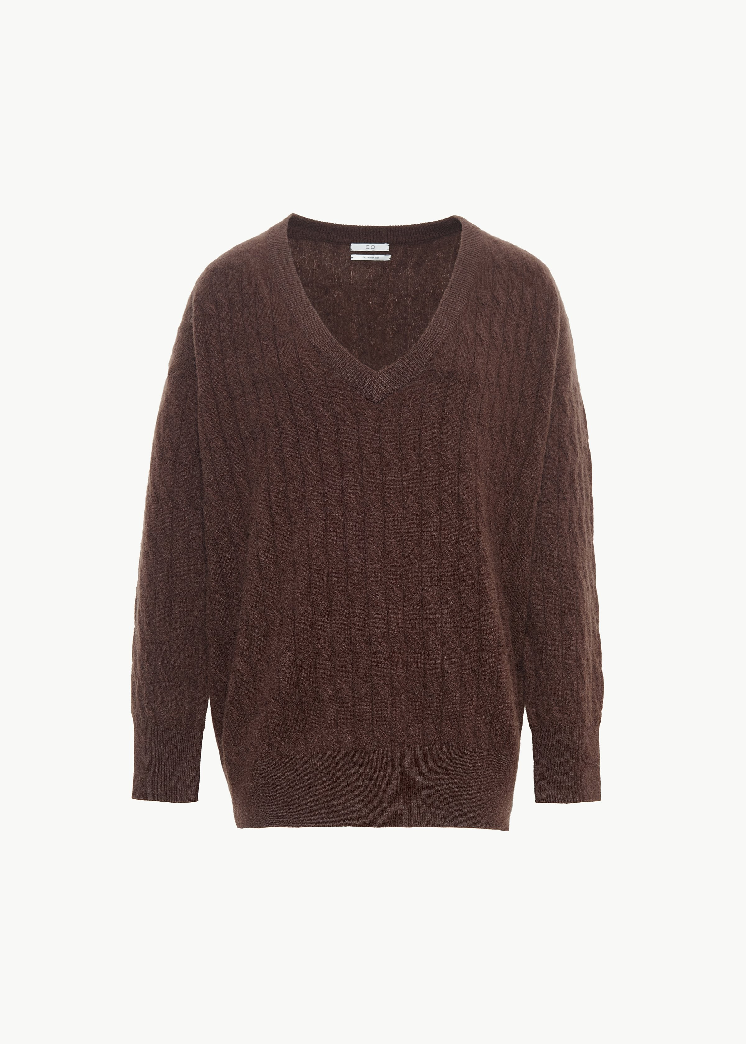Cable Knit V Neck Sweater in Cashmere - Copper in Chocolate by Co Collections