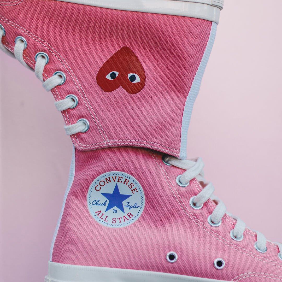 Converse Chuck Taylor All-Star 70s Hi Comme des Garçons Play Bright Pink