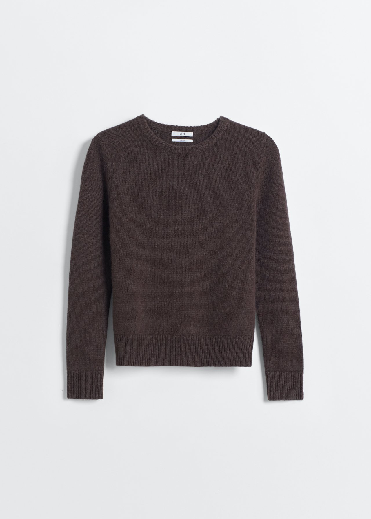 Cashmere Crew Neck Sweater - Light Grey in Brown by Co Collections