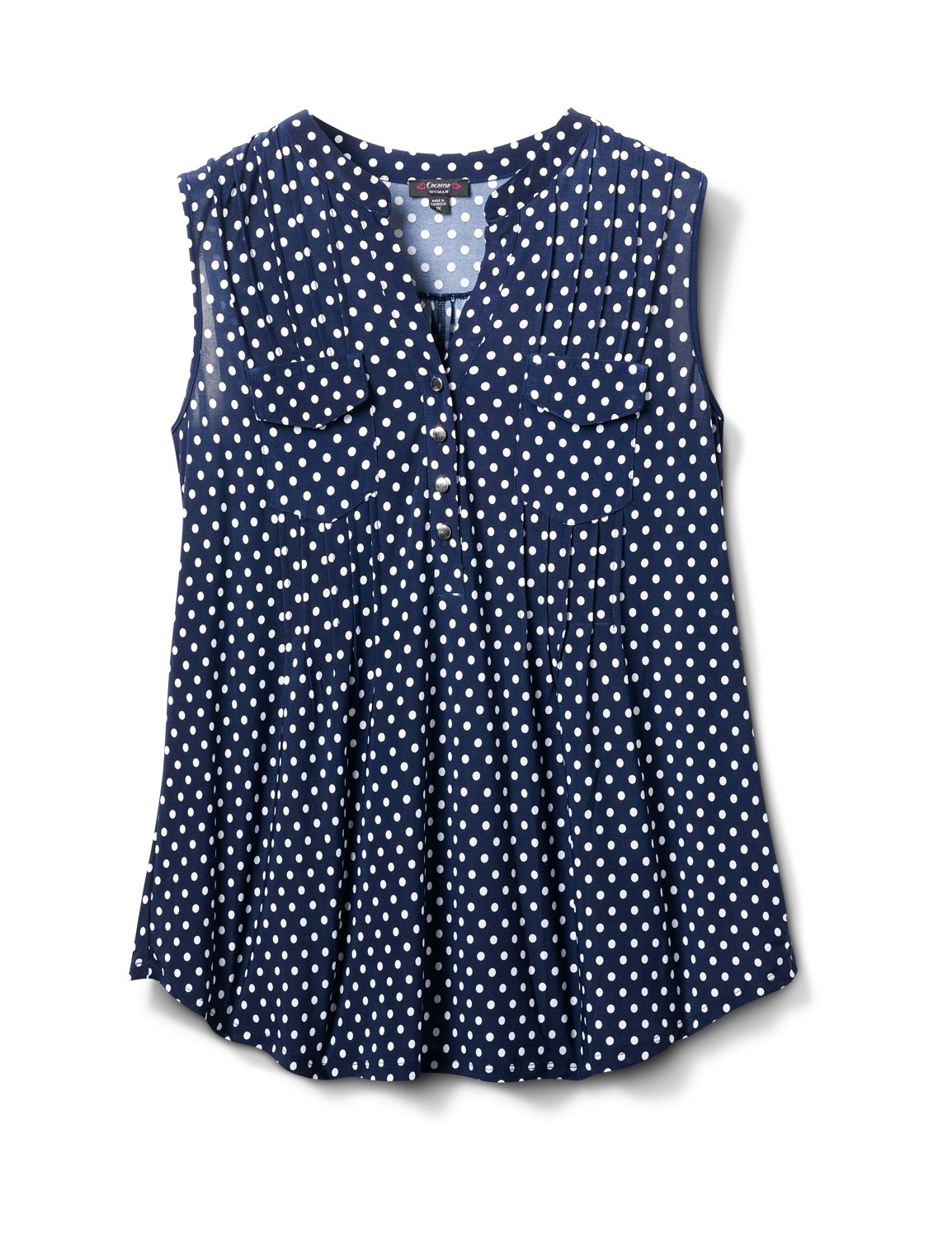Navy Dot Pintuck Popover -Navy/White - Front