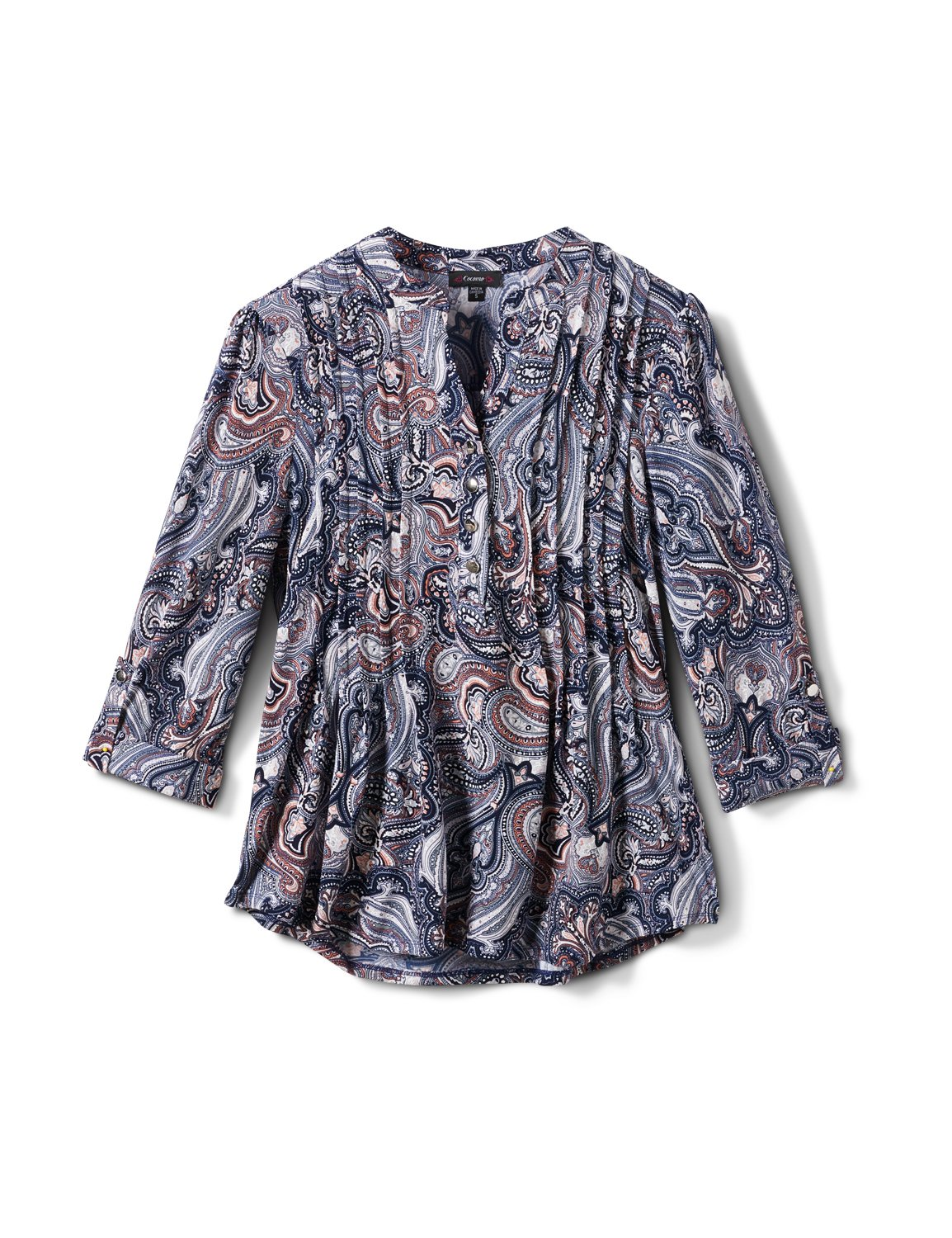 Paisley Pintuck Popover -Navy/Orange - Front