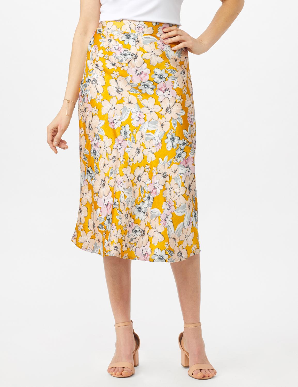 Floral Printed Slip Skirt -Gold - Front
