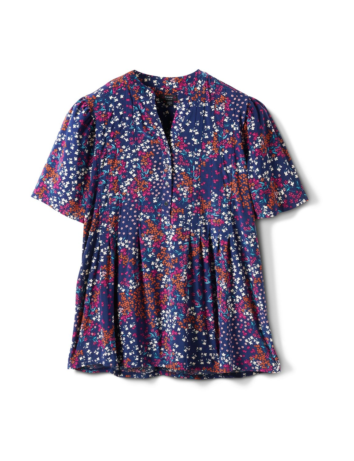 Elbow Floral Pintuck Popover -Navy/Nutmeg - Front
