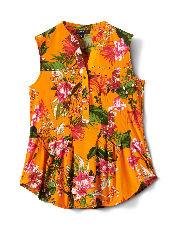 Sleeveless Bright Floral Pintuck Popover -Orange/Aqua - Front