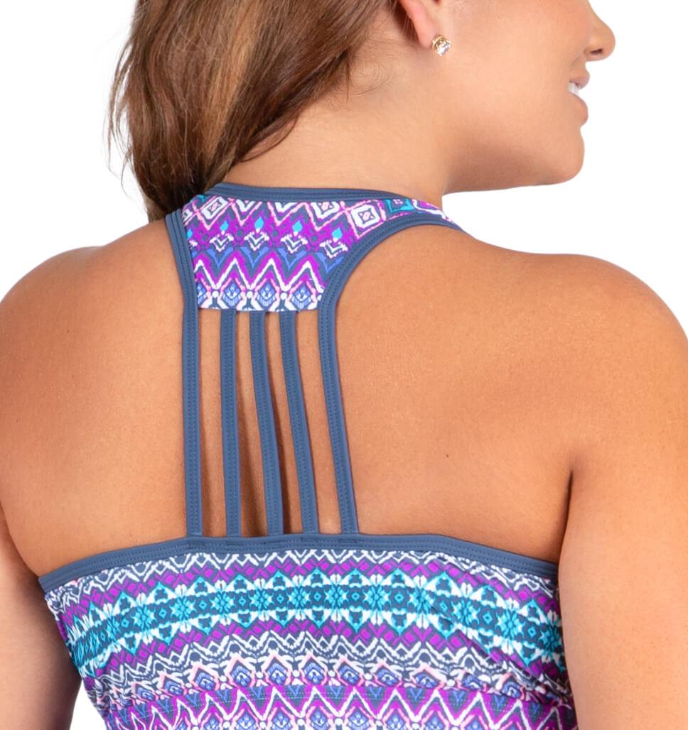 Women's Plus Size Island Vibe Lace Up Racerback Tankini Top