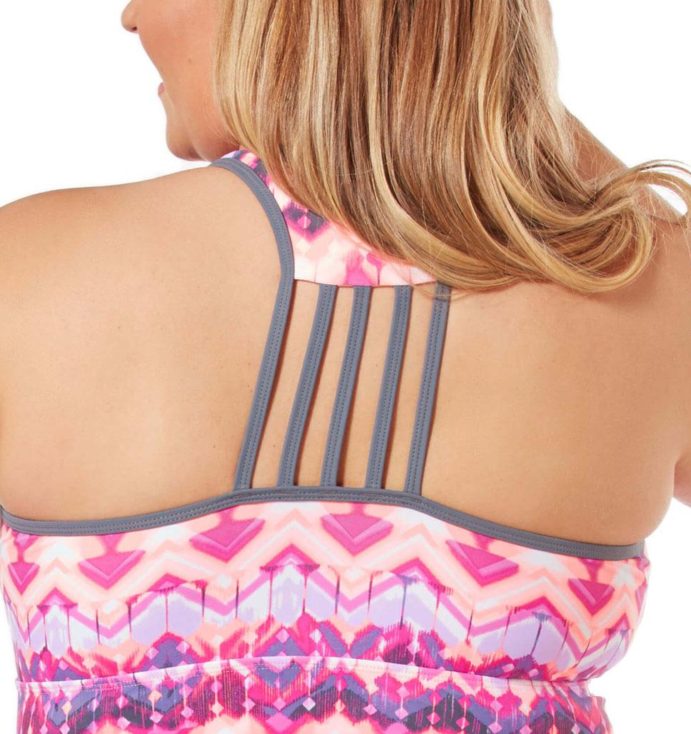 Women's Plus Size Zig Zag Lace Up Racerback Tankini Top