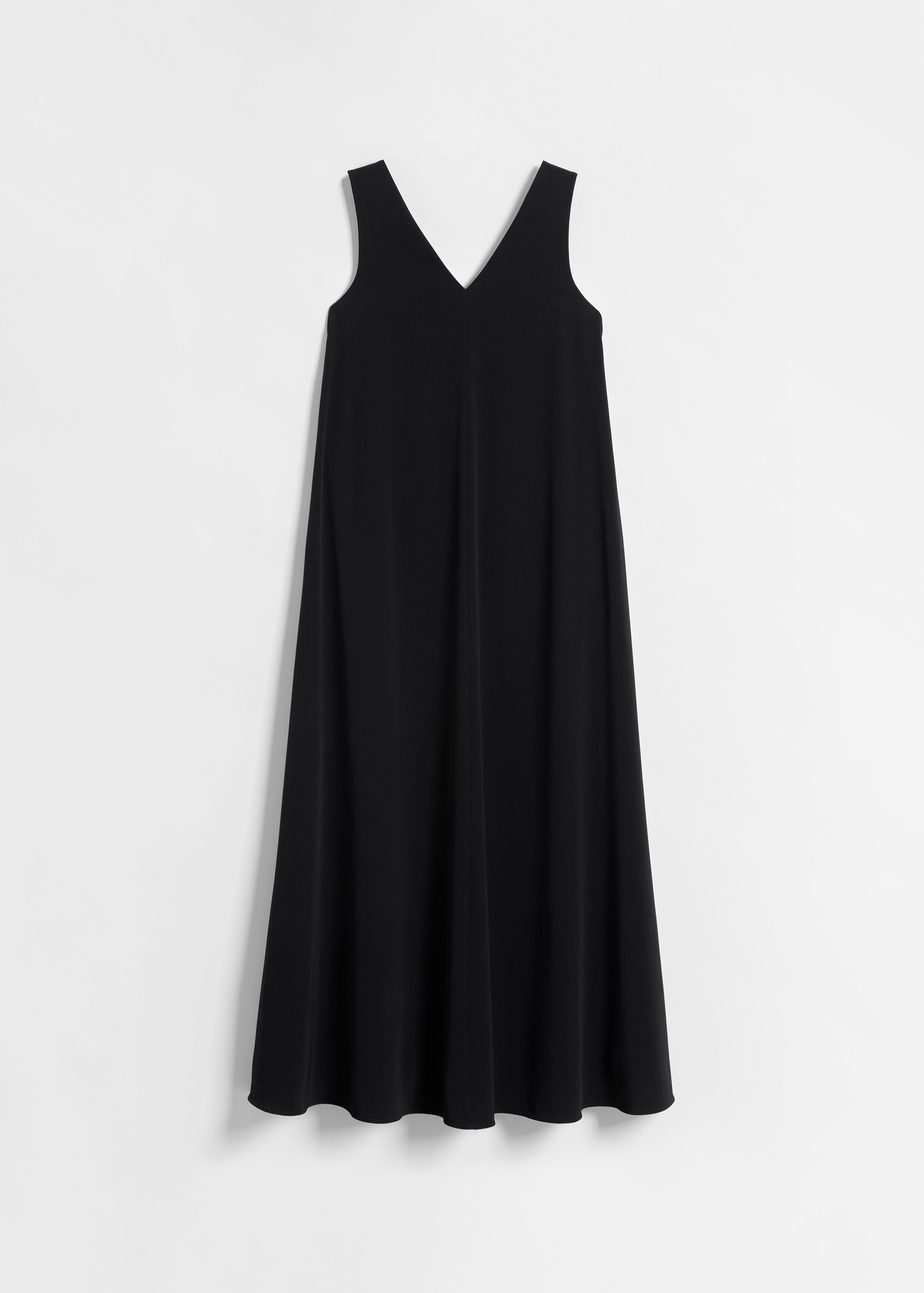 CO - Long Sleeveless V-Neck Dress in Stretch Crepe - Black