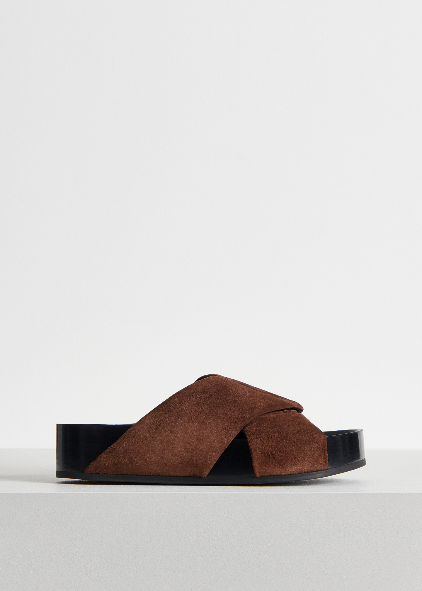Slide Sandal in Suede - Sand in Dark Brown by Co Collections
