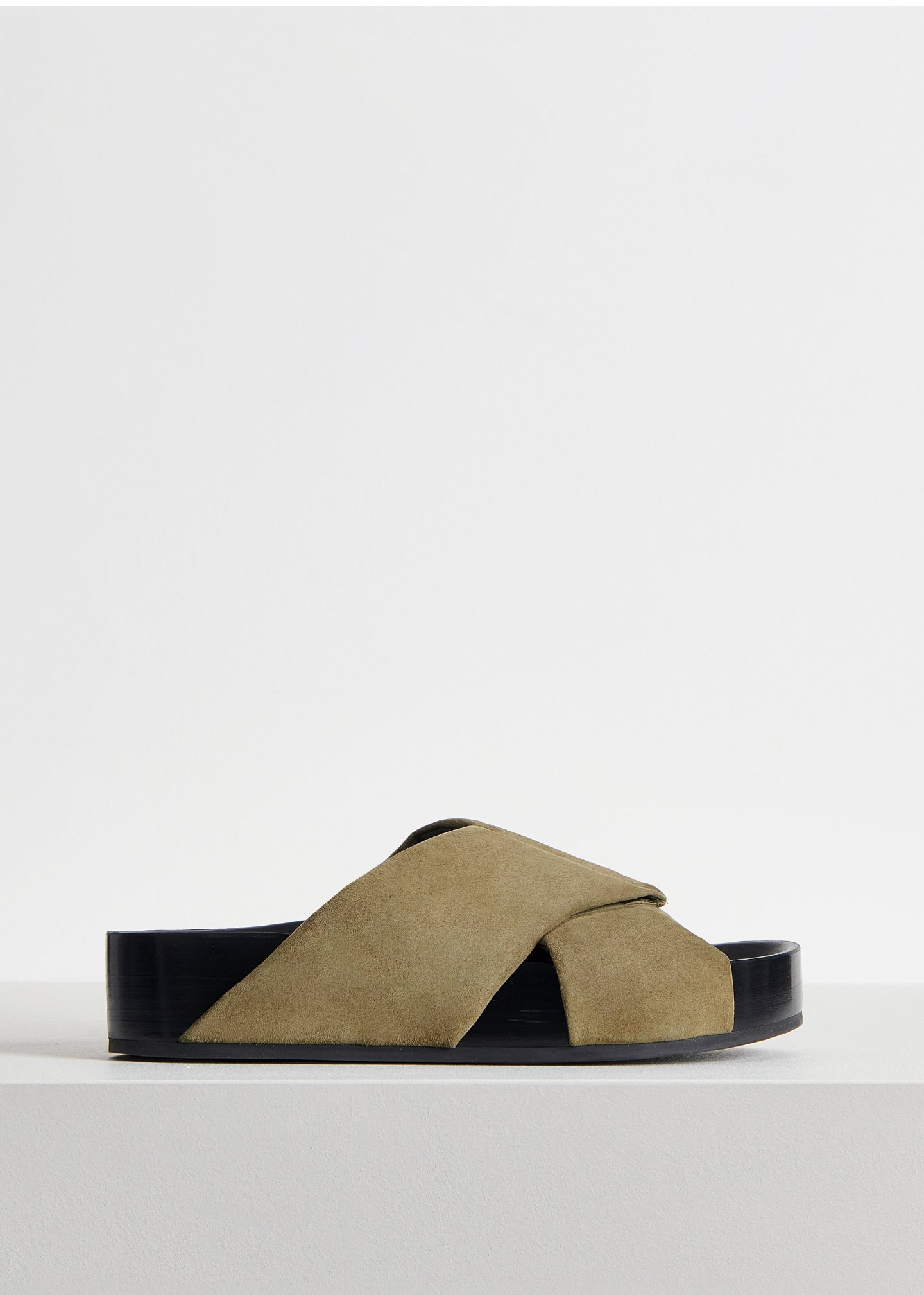Slide Sandal in Suede - Sand in Olive by Co Collections