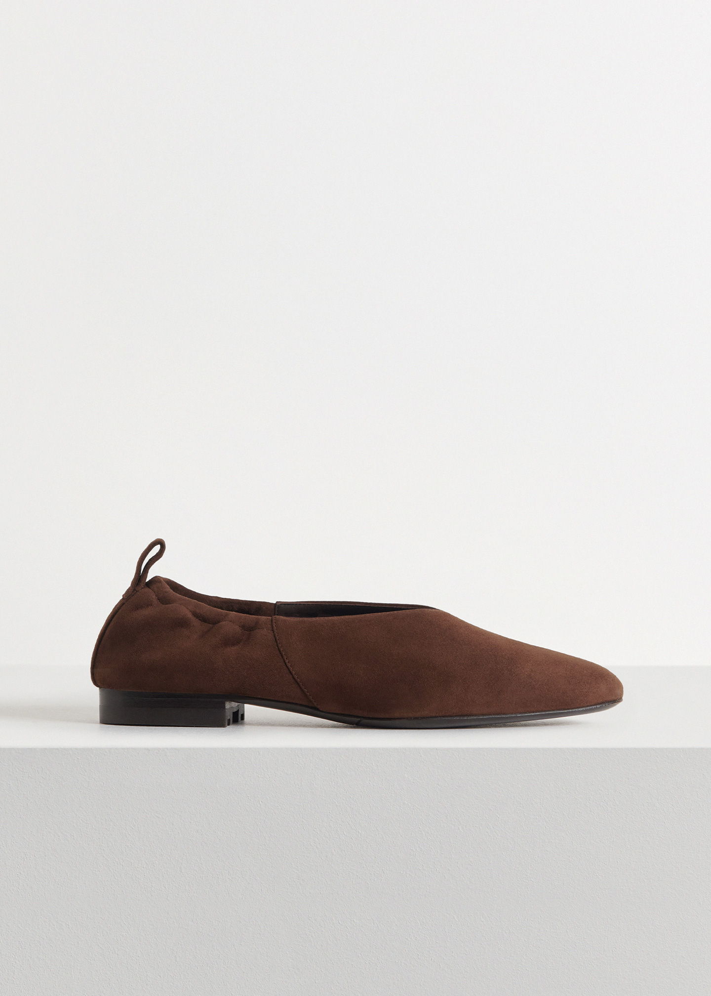 Ballet Flat in Suede - Sand in Dark Brown by Co Collections