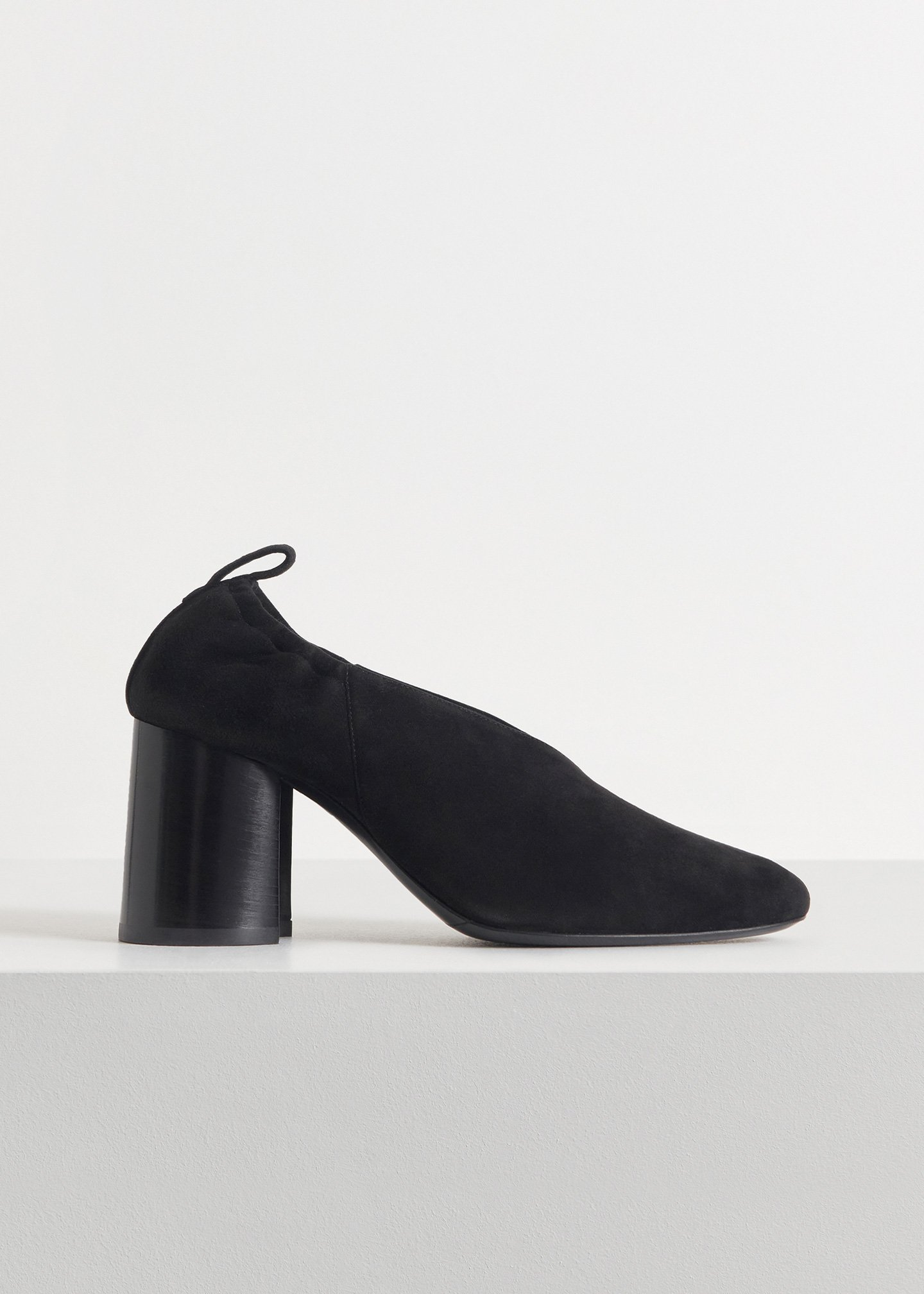Slit Heel in Suede - Sand in Black by Co Collections