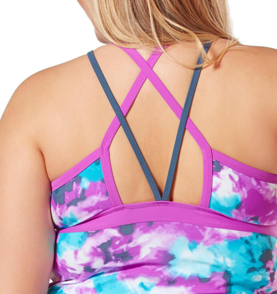 Women's Plus Size Tiki Tie Dye Sporty Strap Tankini Top