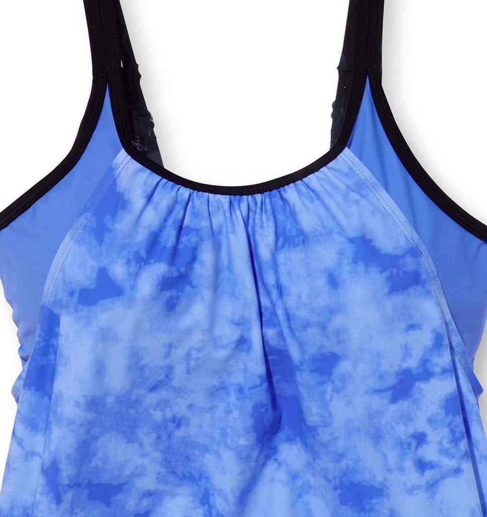 Women's Plus Size Tie Dye Splash Blouson Tankini Top