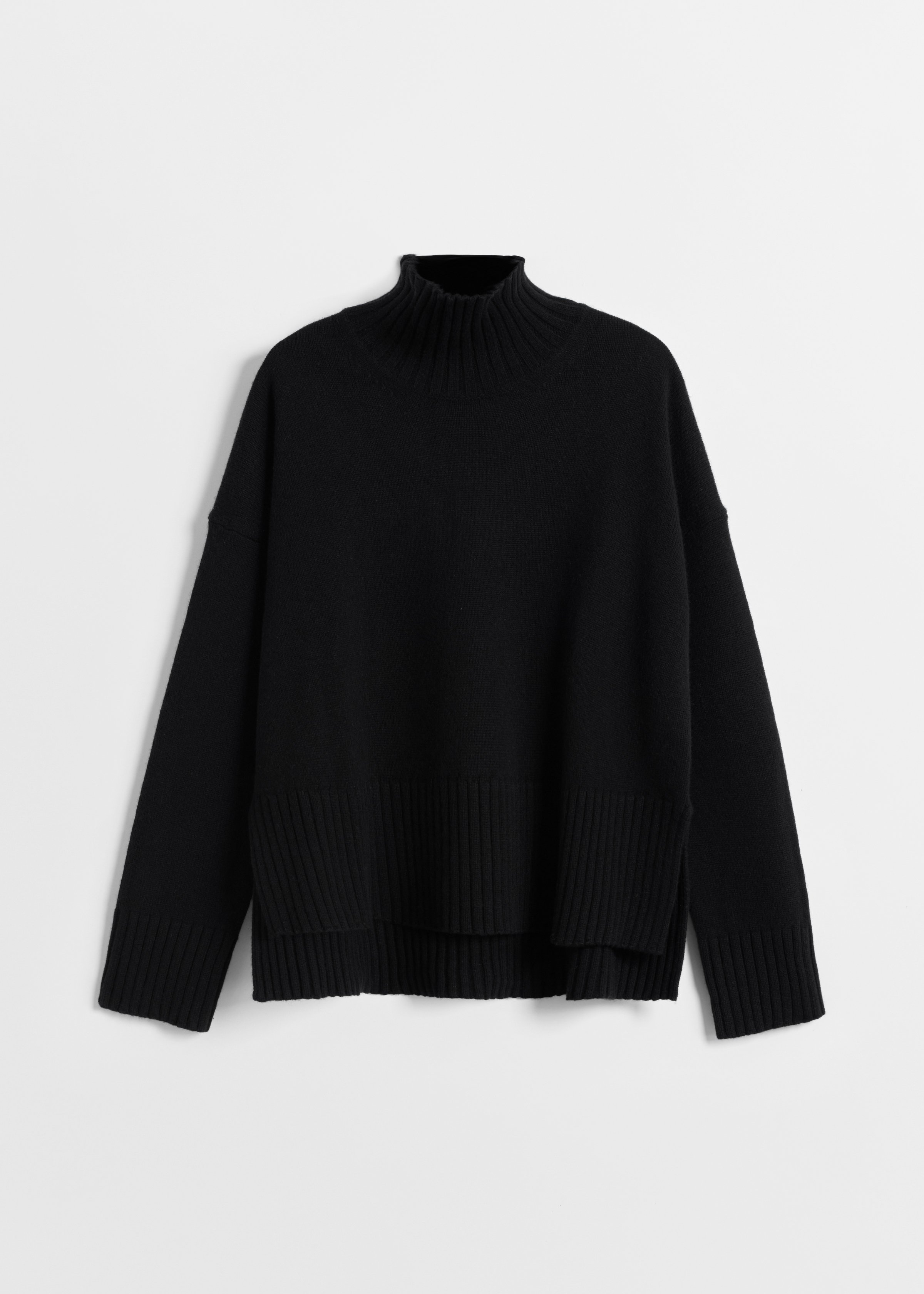 High Neck Sweater in Wool Cashmere - Grey in Black by Co Collections