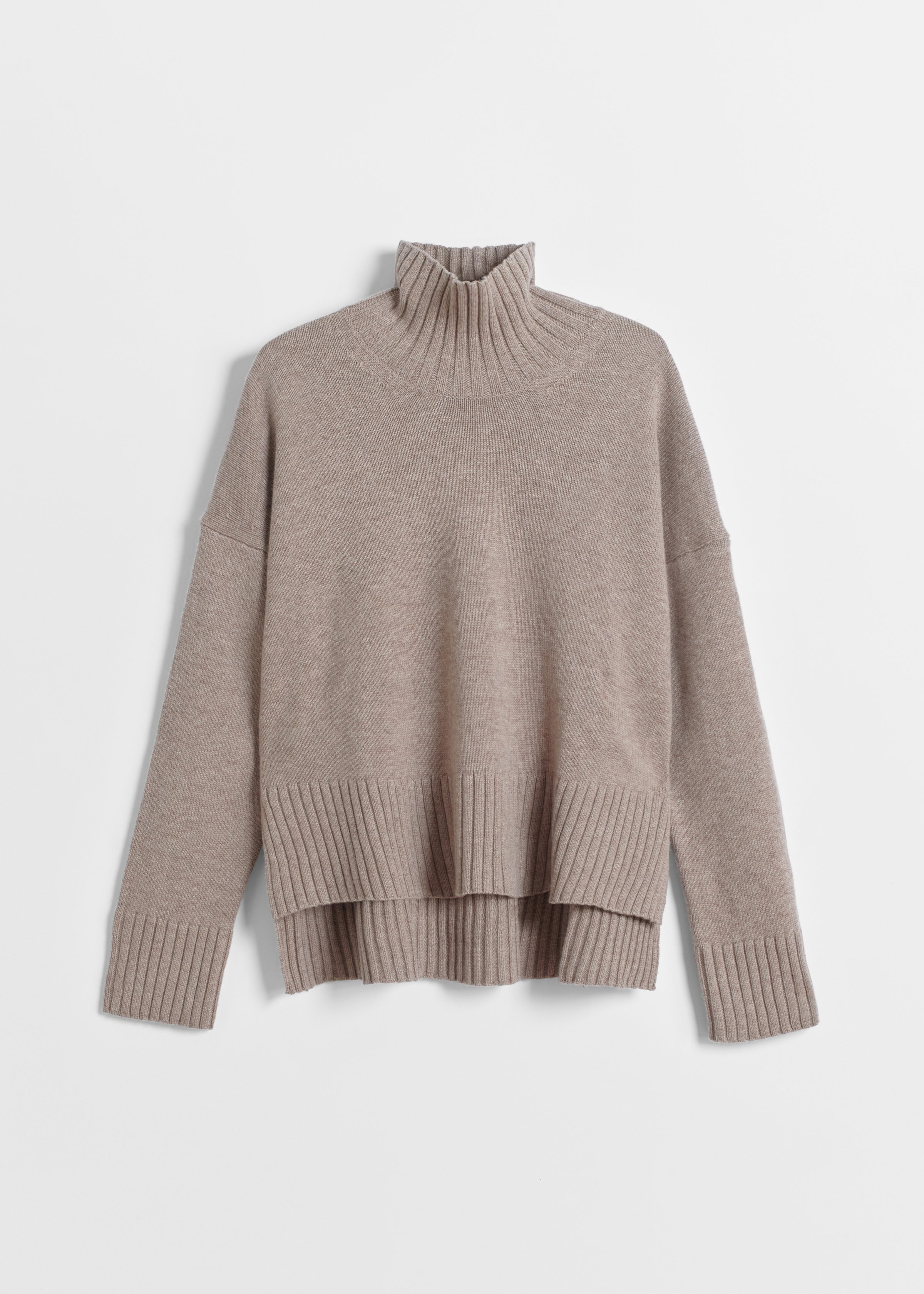High Neck Sweater in Wool Cashmere - Brown in Taupe by Co Collections