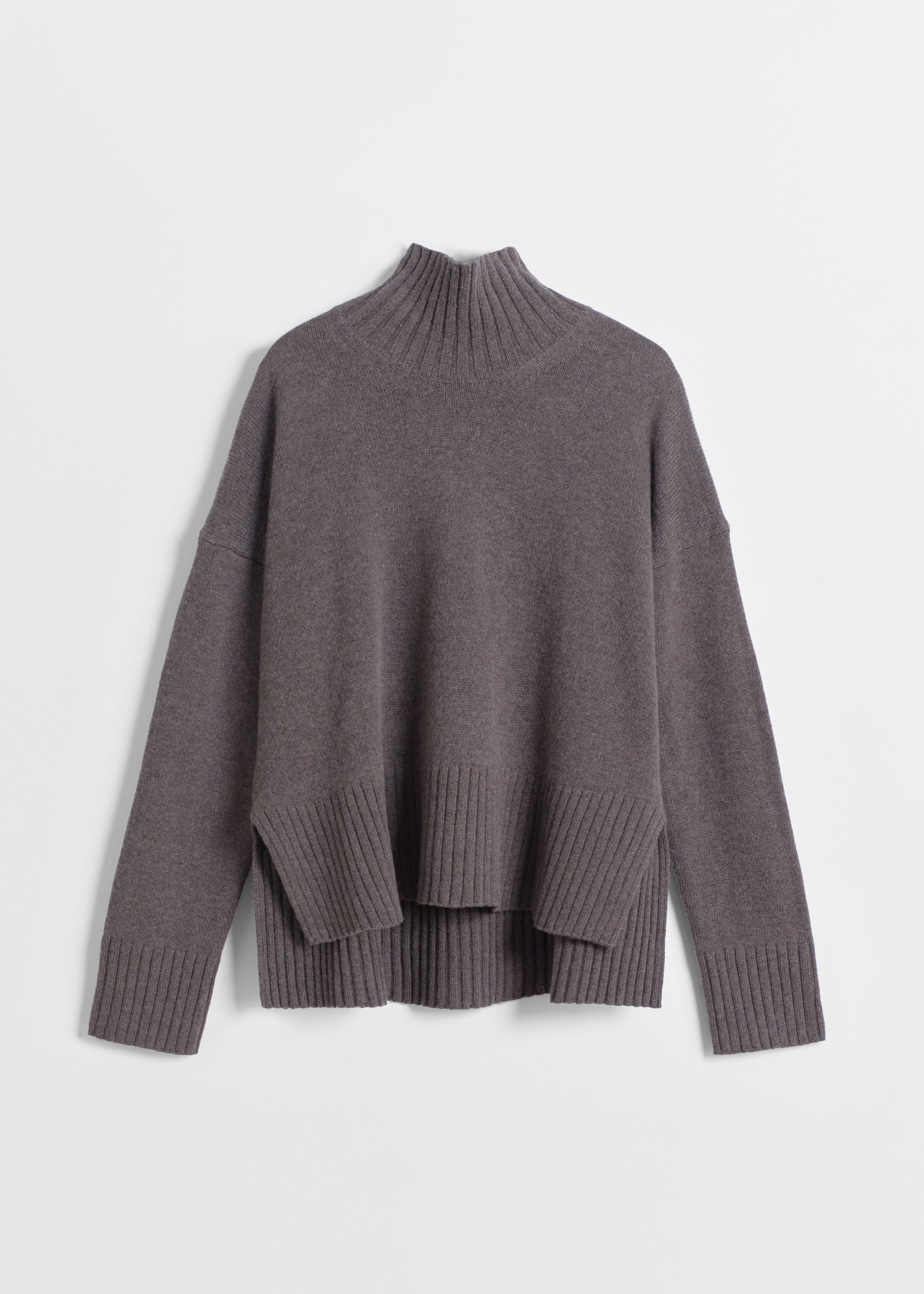 High Neck Sweater in Wool Cashmere - Grey in Brown by Co Collections