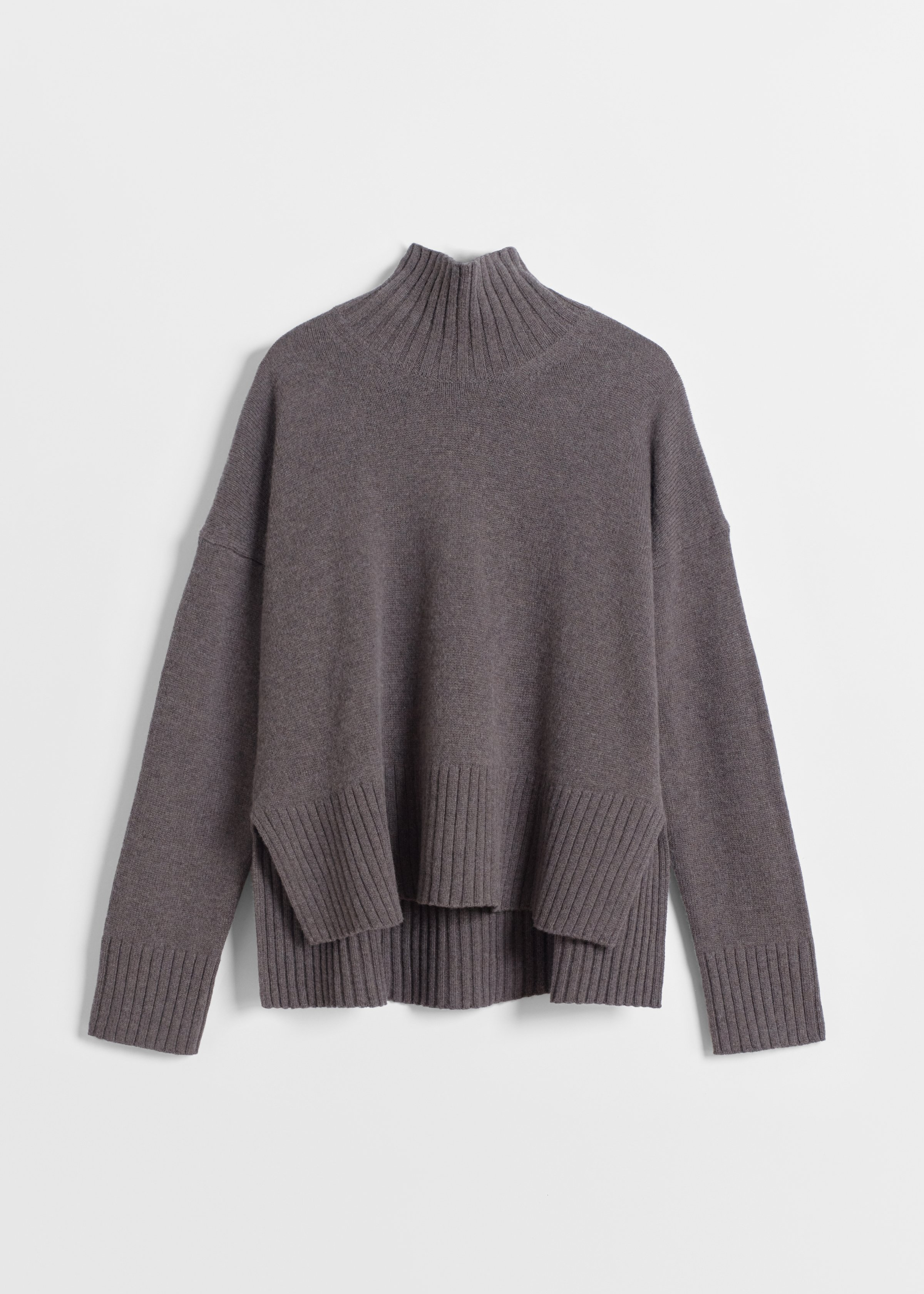 CO - High Neck Sweater in Wool Cashmere - Brown