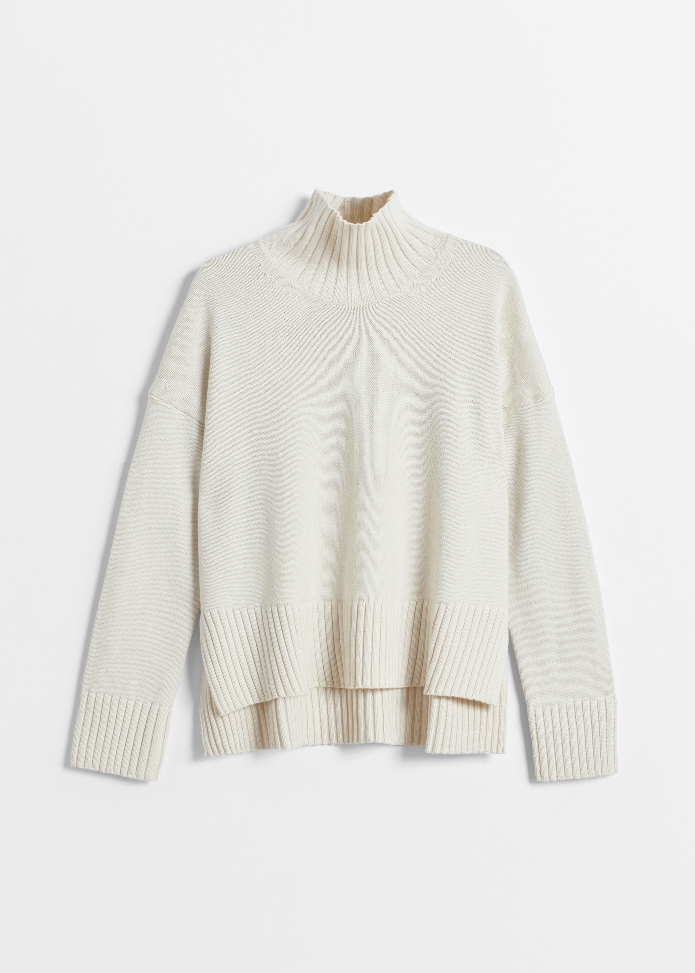 High Neck Sweater in Wool Cashmere - Taupe in Ivory by Co Collections